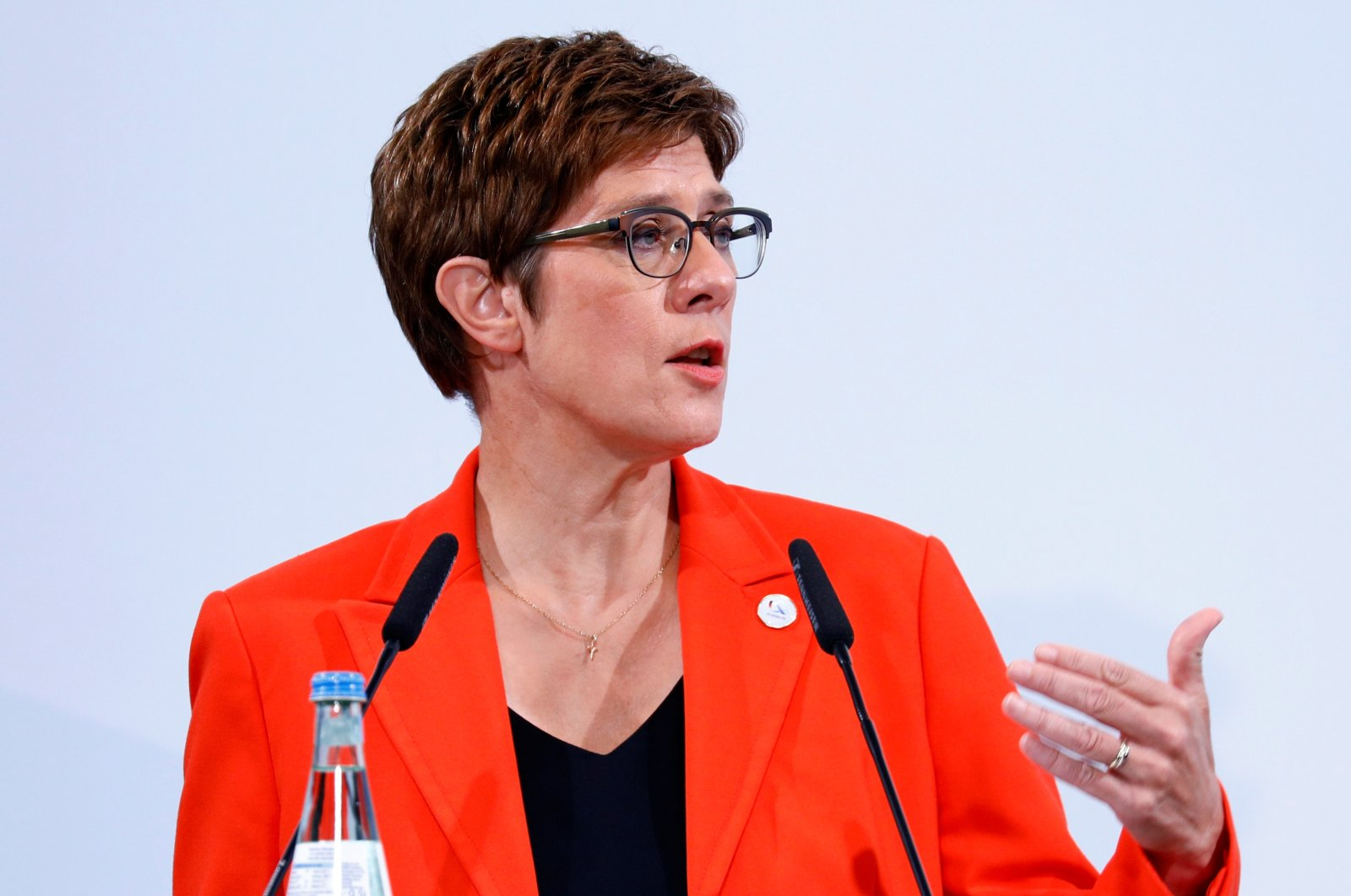 German Defence Minister Annegret Kramp-Karrenbauer holds a joint news conference with Josep Borrell, EU High Representative for Foreign Affairs and Security Policy, after a meeting with the European Union's defense ministers, in Berlin, Aug. 26, 2020. (REUTERS)