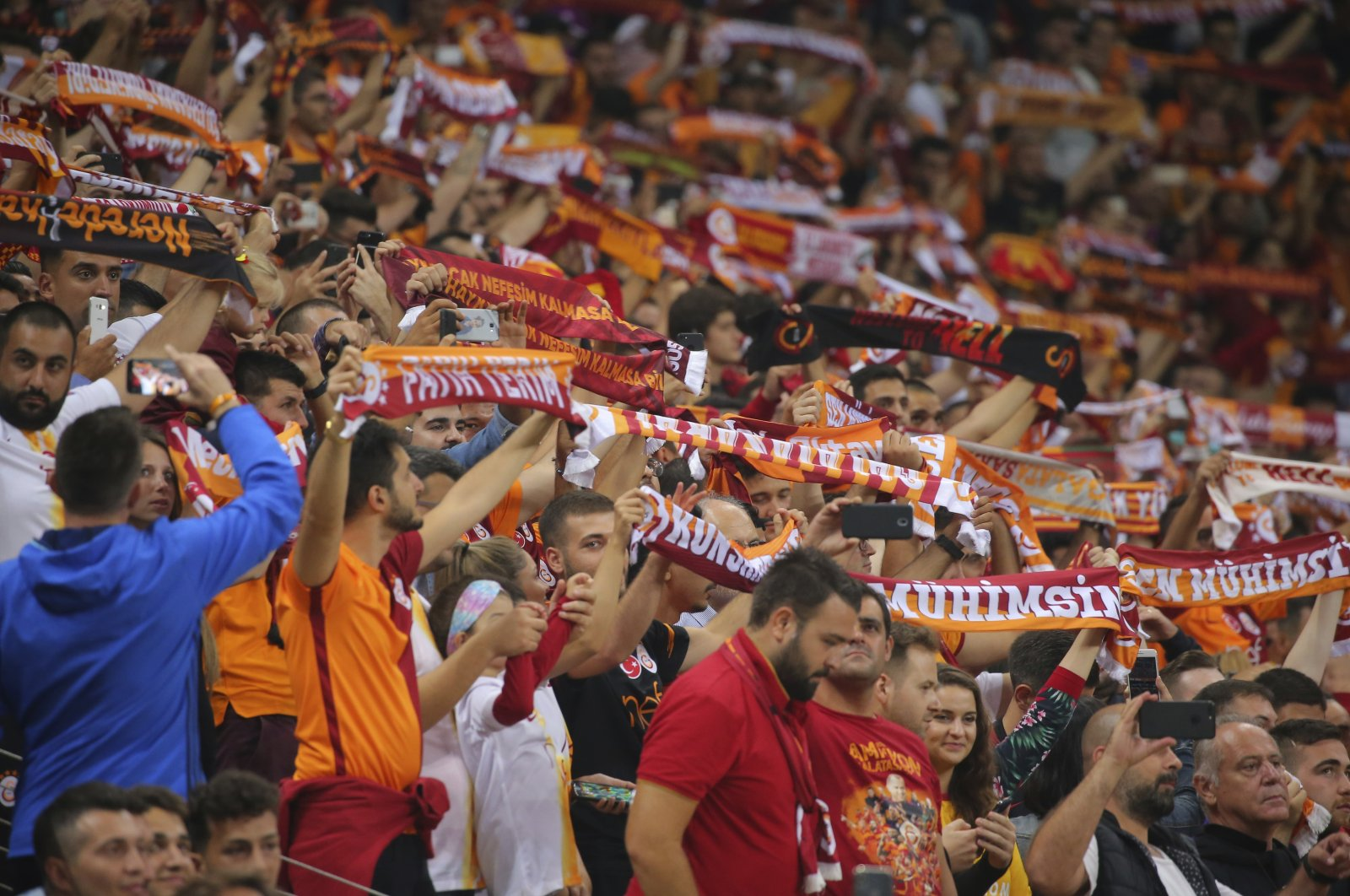 Galatasaray's fans celebrate ahead of the Champions League Group D football match between Galatasaray and Lokomotiv Moscow in Istanbul, Turkey, Sept. 18, 2018. (AP Photo)