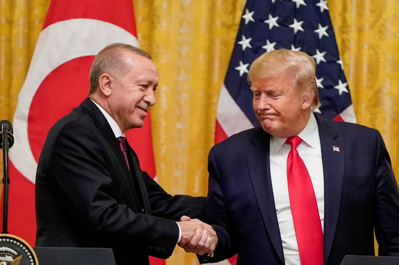 U.S. President Donald Trump greets Turkey's President Recep Tayyip Erdoğan during a joint news conference at the White House in Washington, D.C., U.S., Nov. 13, 2019. (Reuters Photo)