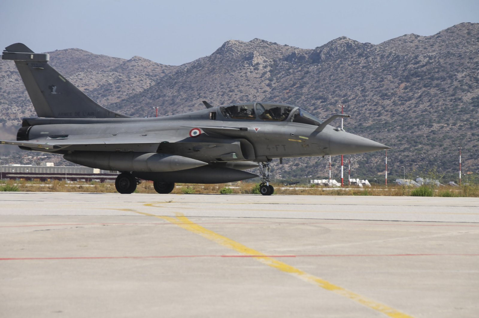 A French Rafale fighter jet sits at the Souda Air Base on the island of Crete, Greece, Aug. 13, 2020, in this photo provided by the Greek defense ministry. (AP Photo)