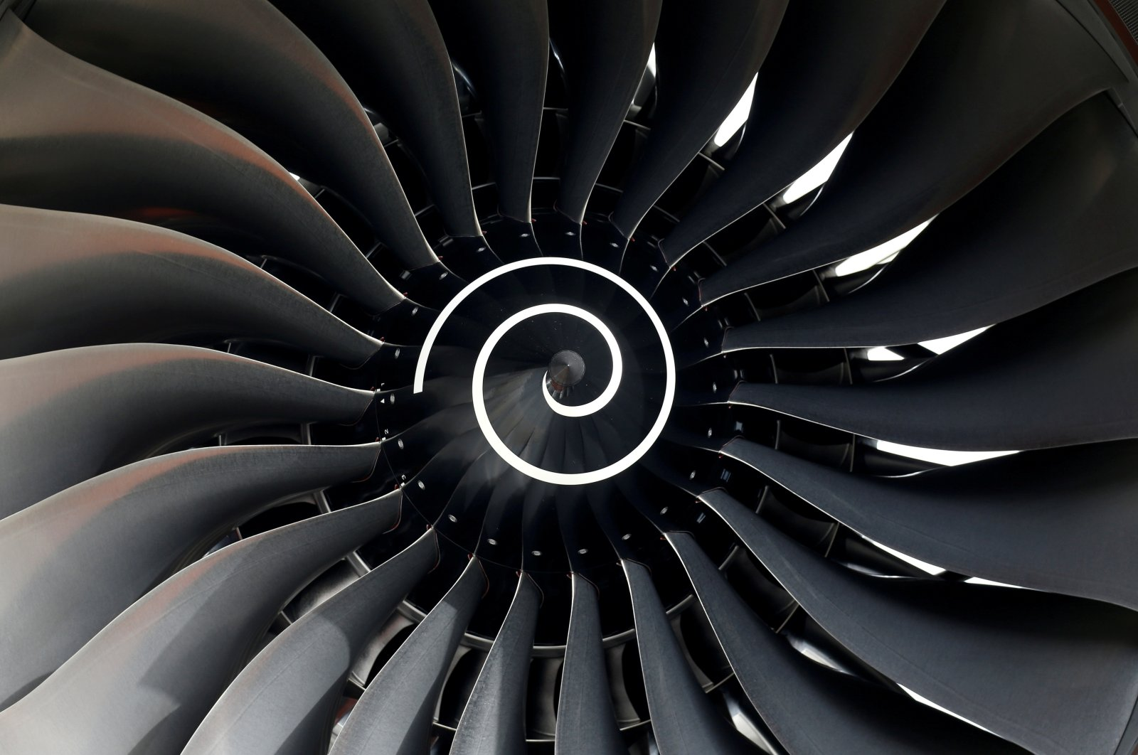 Rolls Royce engine of the first Fiji Airways A350 XWB airliner is seen at the aircraft builder's headquarters of Airbus in Colomiers near Toulouse, France, Nov. 15, 2019. (Reuters Photo)