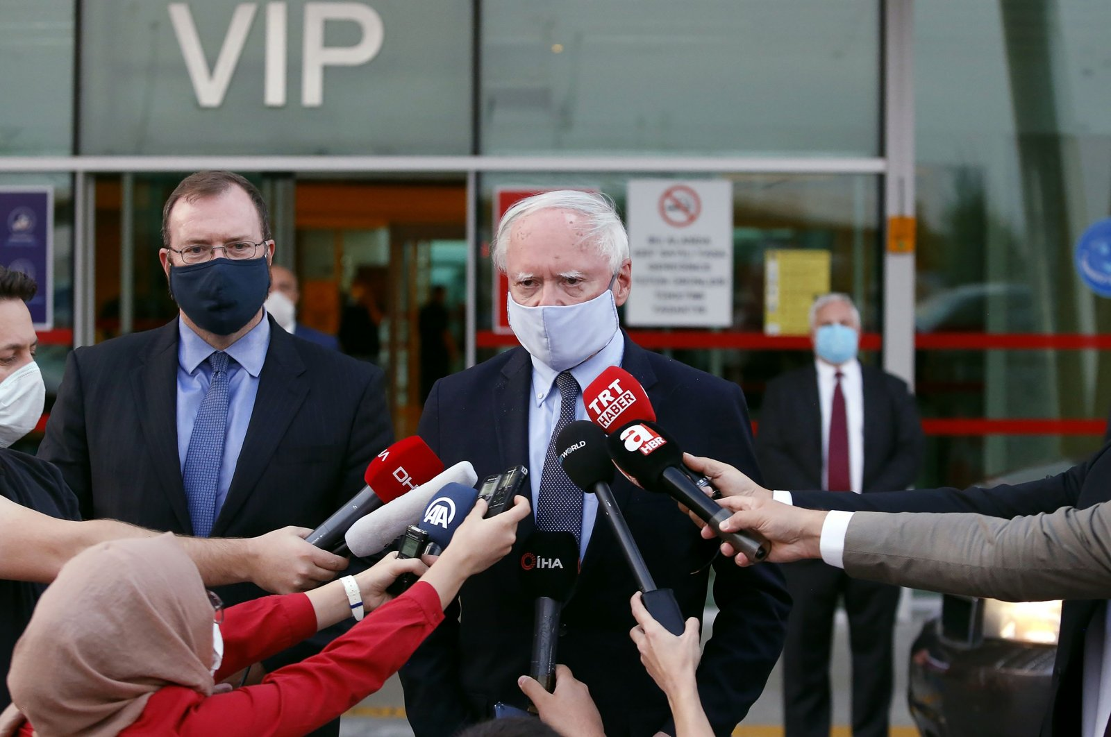 U.S. Special Representative for Syria James Jeffrey (C) speaks to the press after arriving at Esenboğa Airport in Ankara, Aug. 26, 2020. (AFP Photo)