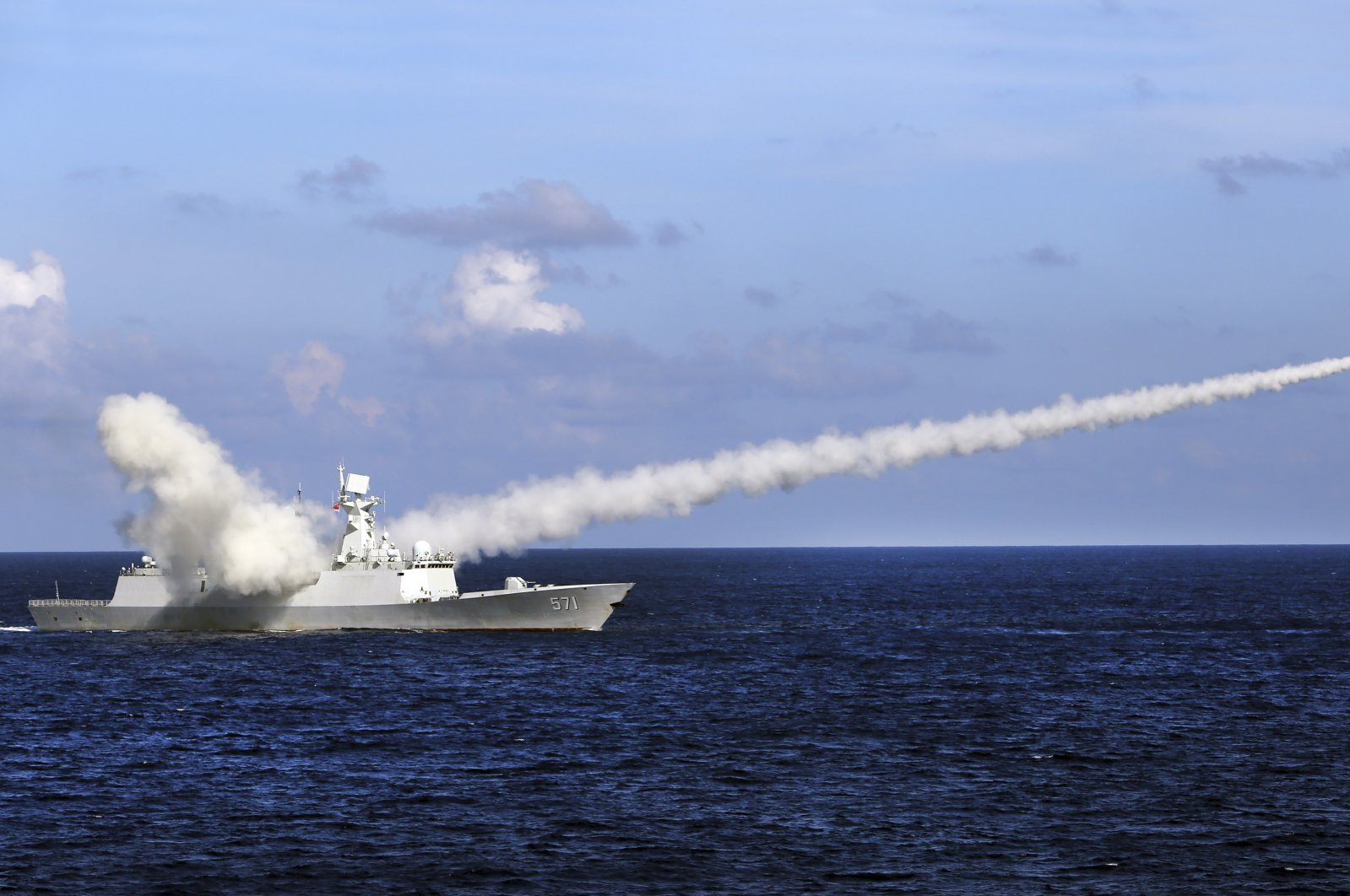 In this file photo, Chinese missile frigate Yuncheng launches an anti-ship missile during a military exercise in the waters near south China's Hainan Island and Paracel Islands, July 8, 2016. (AP Photo)