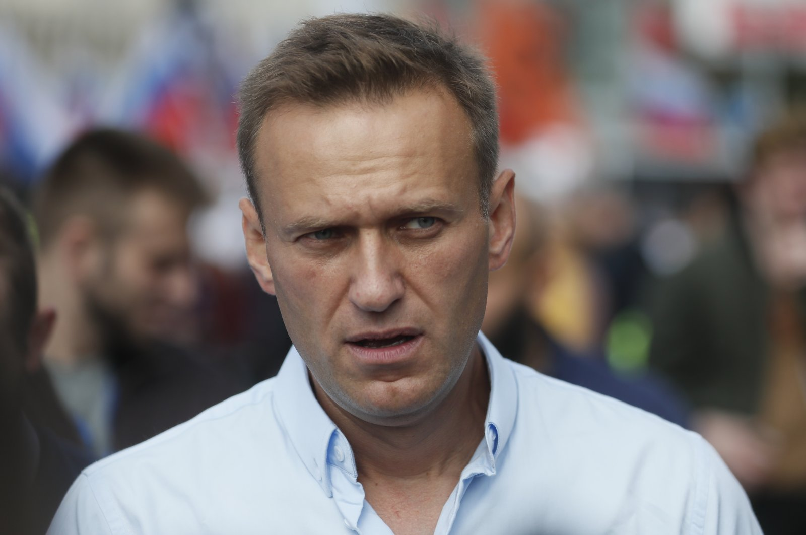 Russian opposition activist Alexei Navalny attends a rally in support of opposition candidates in the Moscow City Duma elections in downtown Moscow, Russia, July 20, 2019. (EPA-EFE Photo)