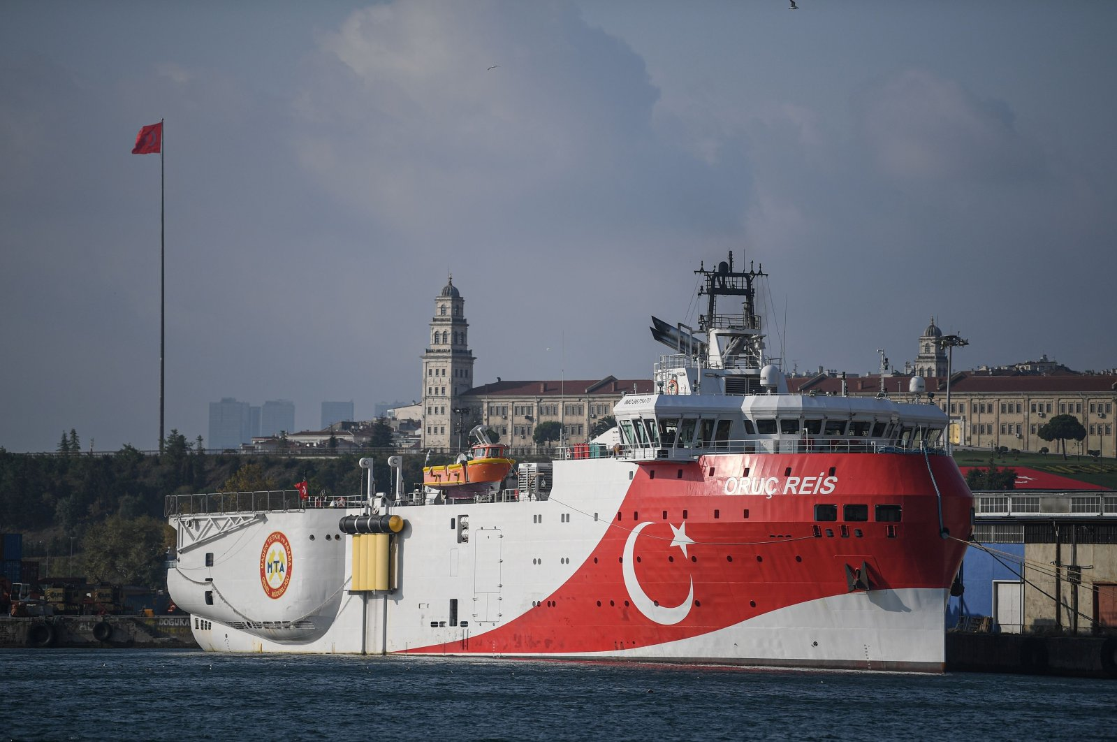 This file photo shows a view of the Oruc Reis seismic research vessel docked at Haydarpasa port, which searches for hydrocarbon, oil, natural gas and coal reserves at sea, Istanbul, Aug. 23, 2019. (AFP Photo)