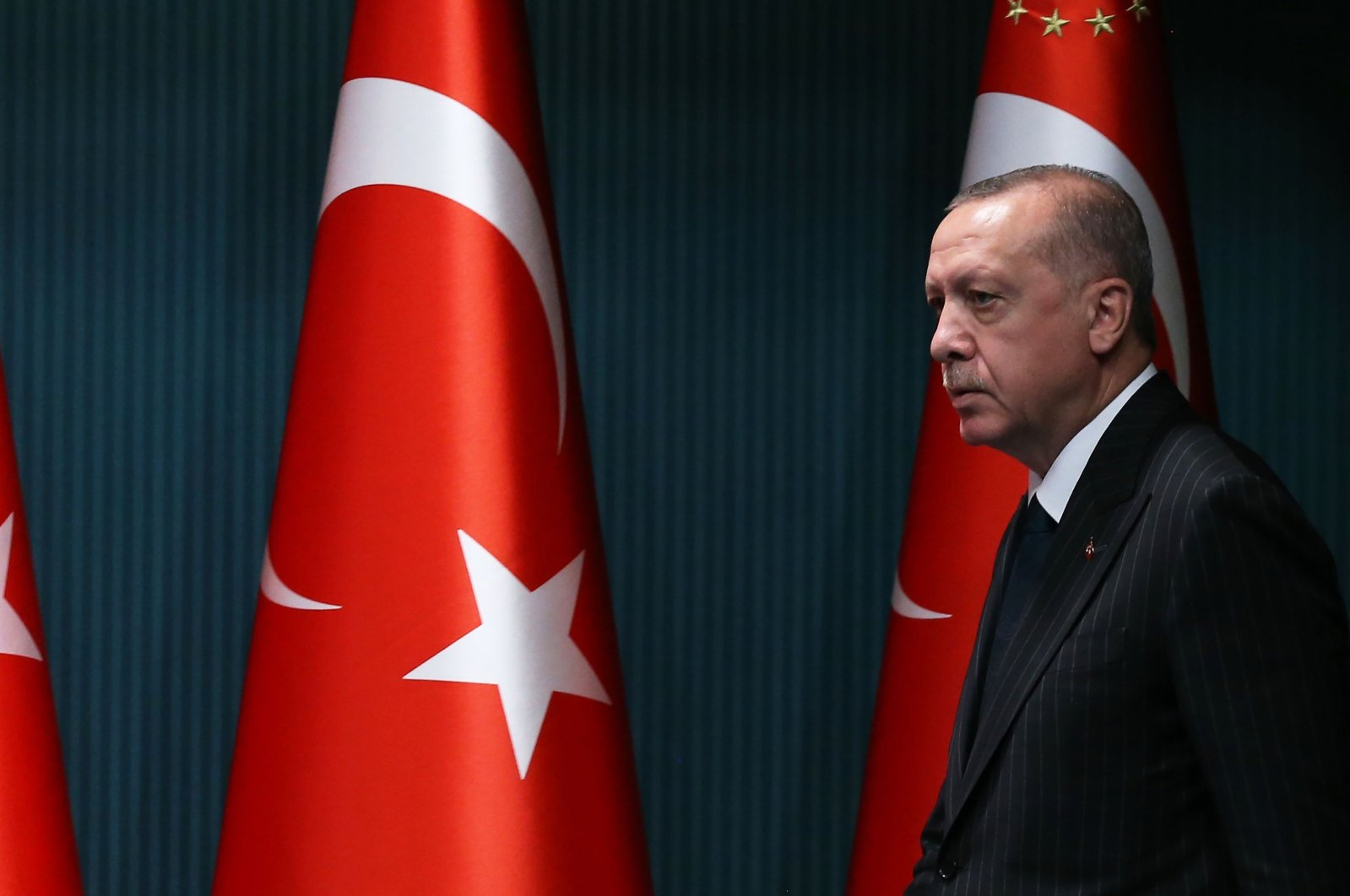 President Recep Tayyip Erdoğan arrives for a news conference following the weekly Cabinet meeting at the Presidential Complex in Ankara, Turkey, Aug. 24, 2020. (AFP Photo)