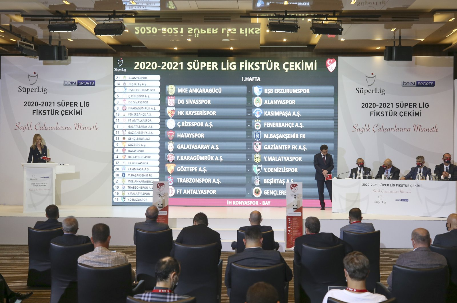 Turkish Football Federation (TFF) officials hold a drawing to determine Süper Lig's 2020-2021 calendar at TFF headquarters in Riva, Beykoz district, Istanbul, Aug. 26, 2020. (AA Photo)