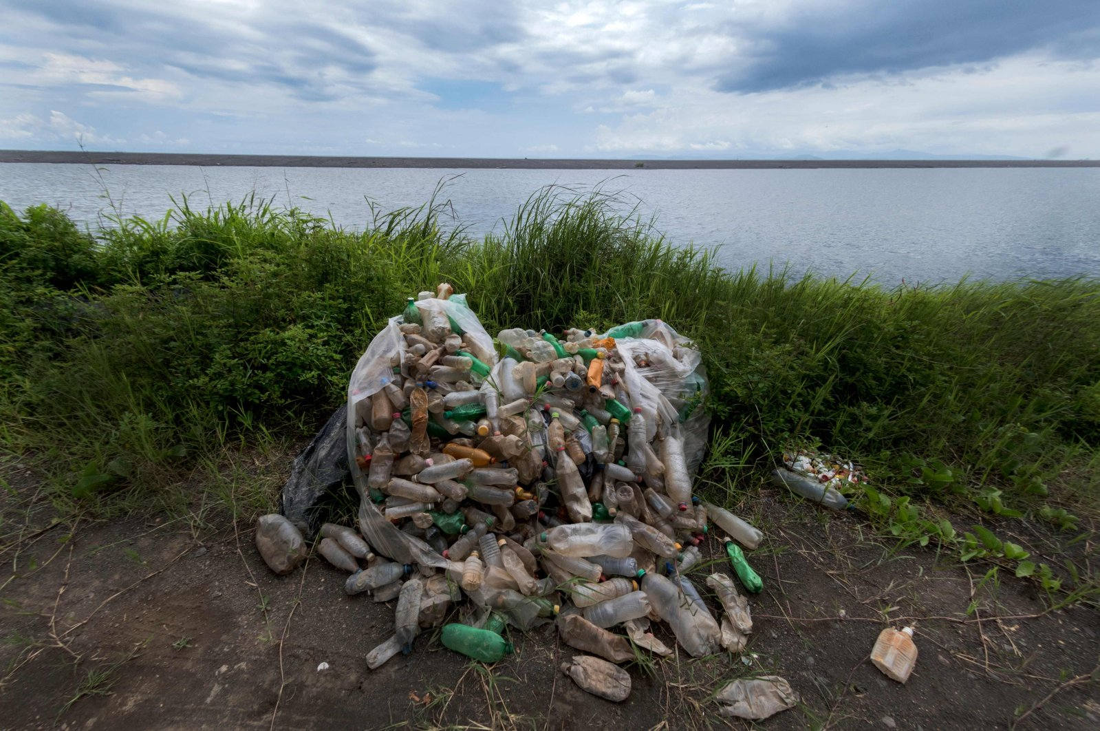 A view of collected plastic waste at Guacalillo beach, in Puntarenas, Costa Rica, Aug. 14, 2018. (AFP Photo)