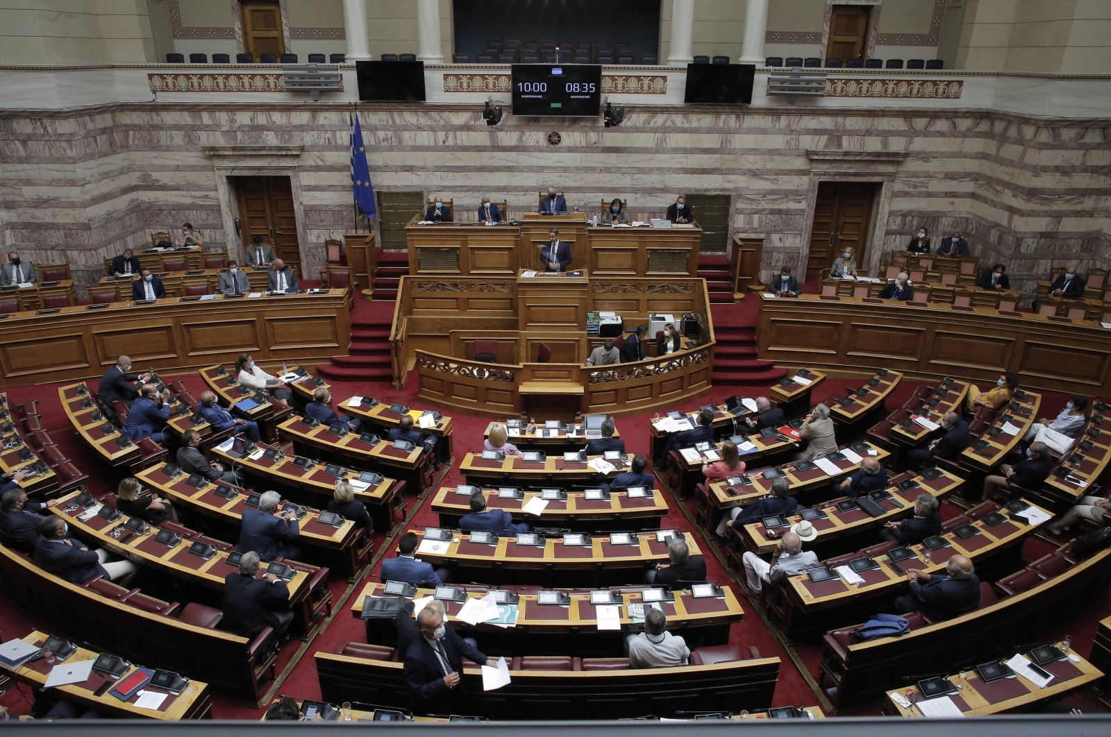 Greek Prime Minister Kyriakos Mitsotakis delivers a speech during a debate in the Parliament in Athens, Greece, Aug. 26, 2020. (EPA Photo)