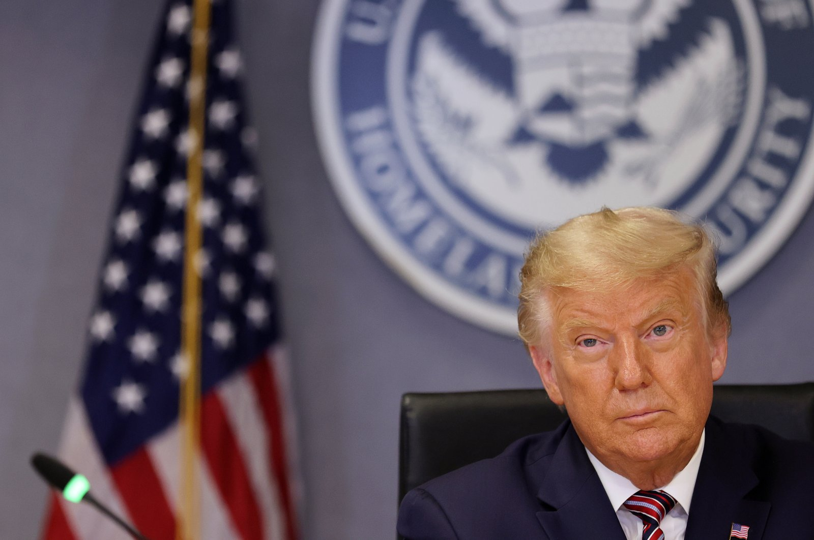 U.S. President Donald President Trump listens during a briefing on Hurricane Laura at the Federal Emergency Management Agency (FEMA) headquarters, Washington, U.S., Aug. 27, 2020. (REUTERS Photo)