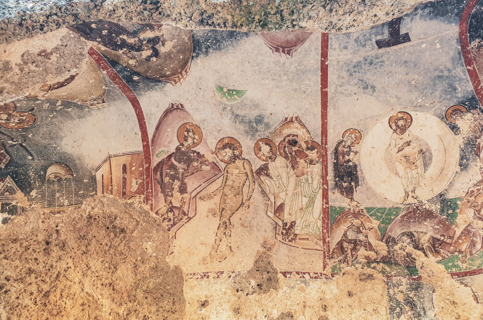 Frescoes located on the northeast side of the Yediler Monastery depict scenes from Jesus Christ's life, Muğla, Turkey. (Photo by Argun Konuk)