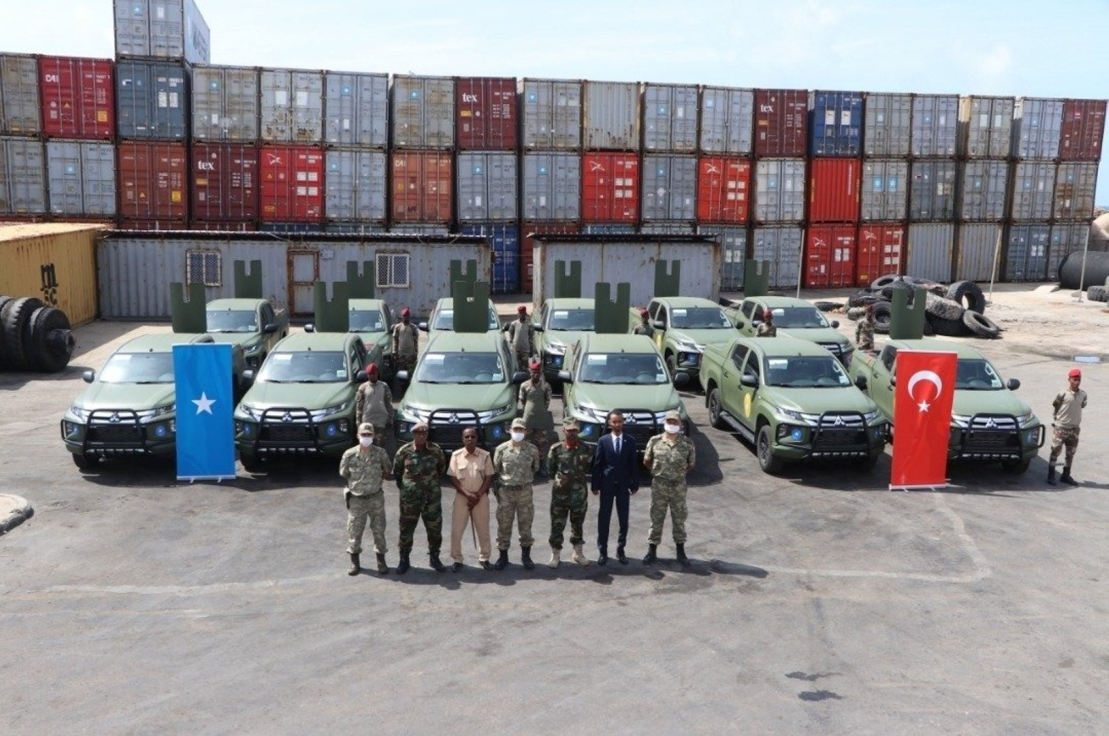 Turkey delivered 12 off-road vehicles to Somalia as part of bilateral military and financial cooperation agreements, Mogadishu, Somalia, Aug. 24, 2020. (AA Photo)