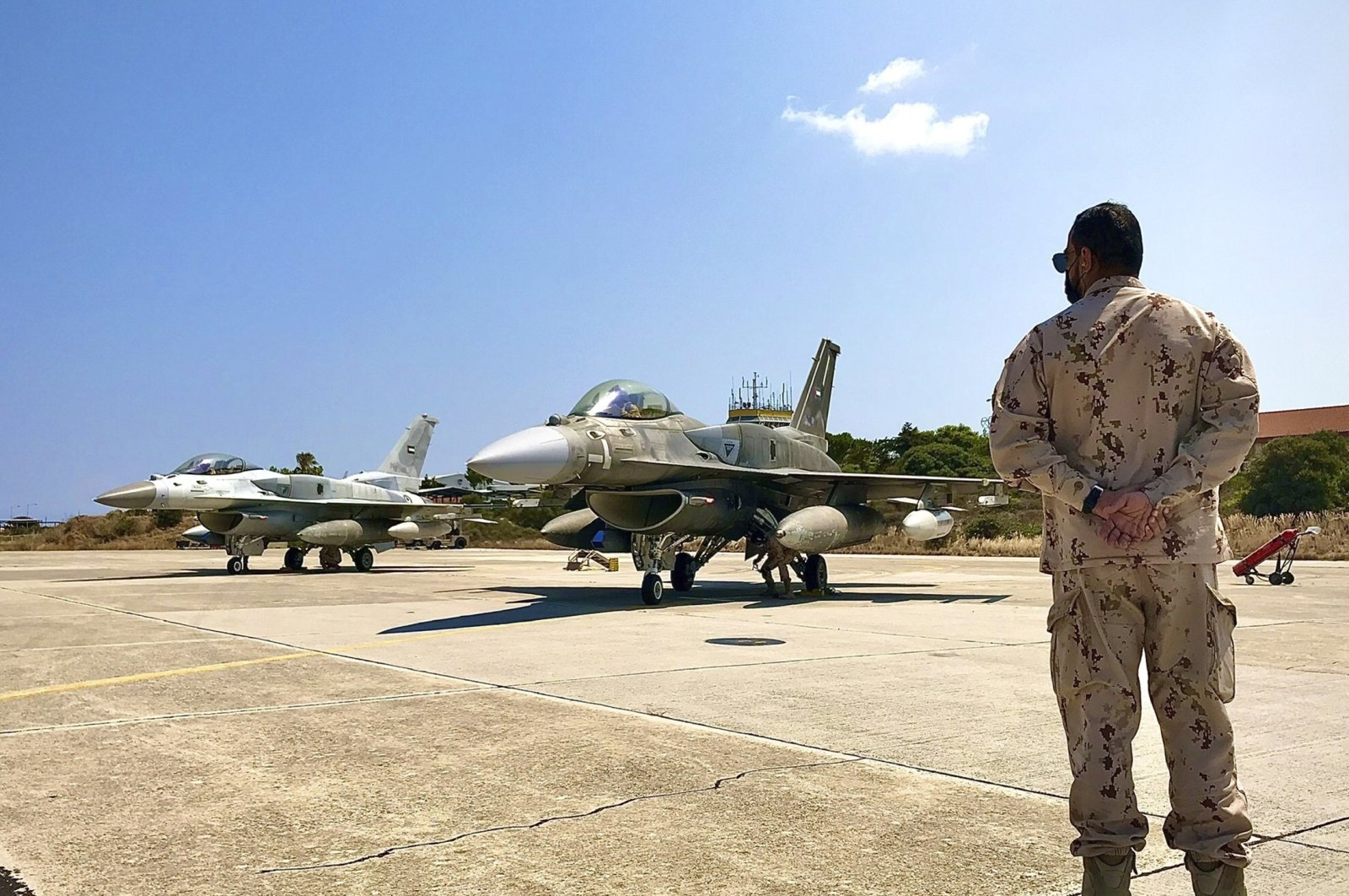 In this photo provided by the Greek Defense Ministry, air force jets from the United Arab Emirates (UAE) arrive at the Souda air base to take part in joint training with Greek forces, on the southern island of Crete, Greece, Aug. 27, 2020. (AP Photo)