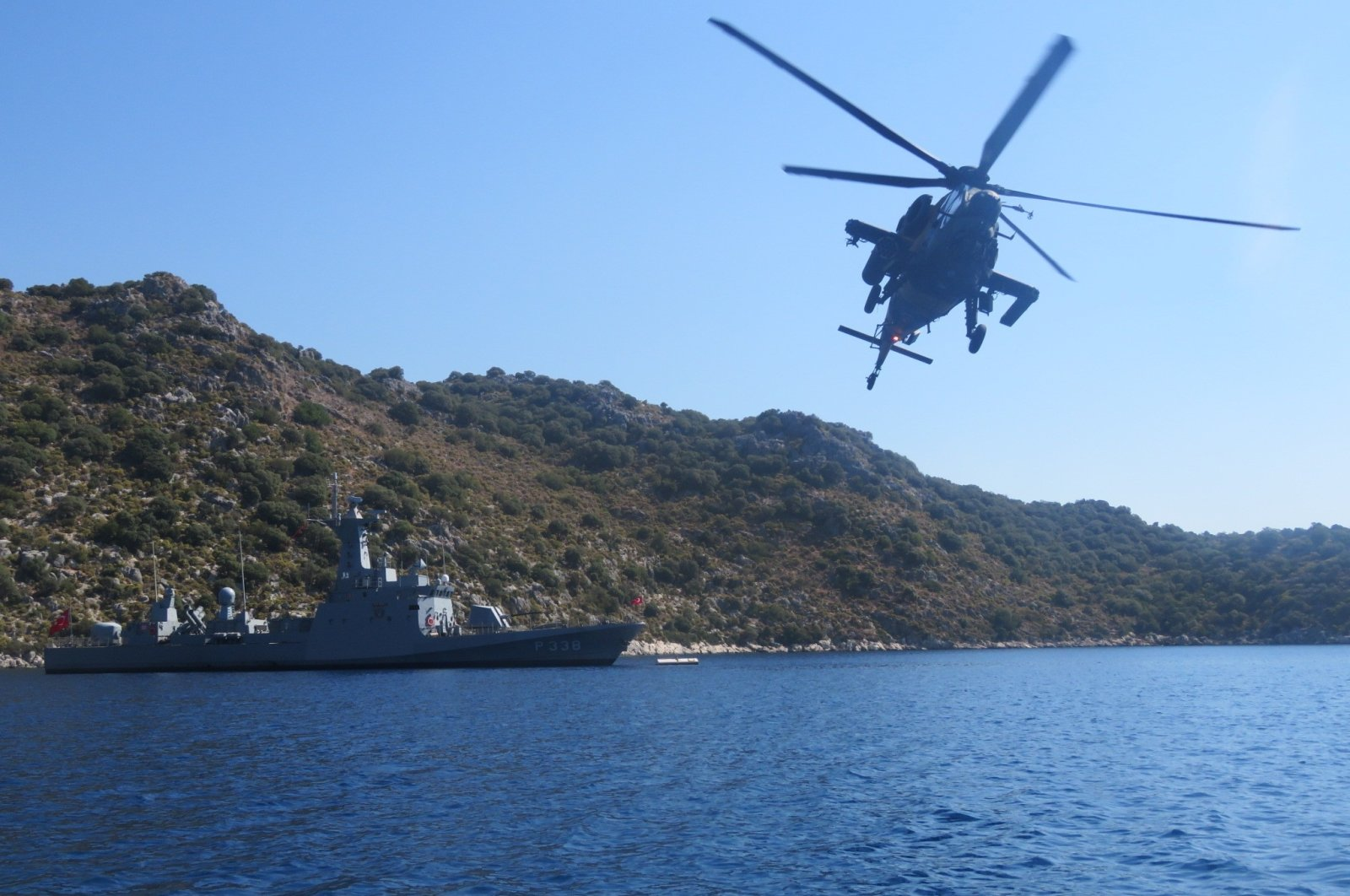 Turkish Navy Fast Patrol Boats and Turkish Army Attack Helicopters conduct their joint training in the Eastern Mediterranean and the Aegean Sea, Aug. 27, 2020. (İHA Photo)