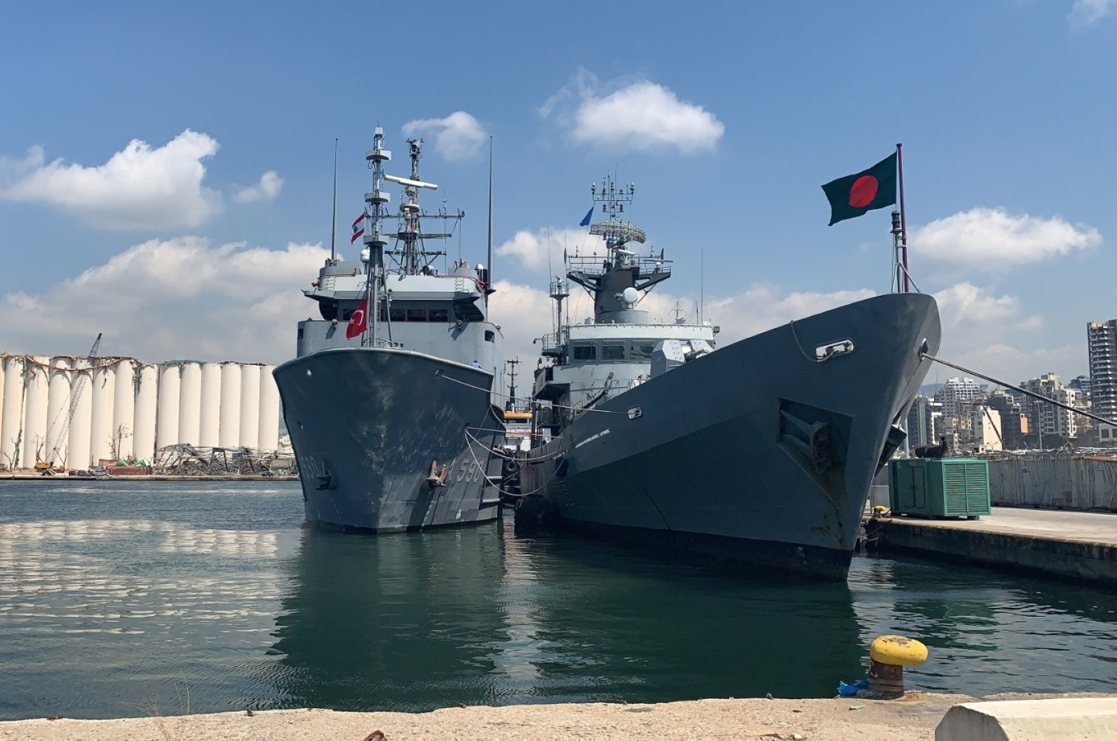 BNS BIJOY, a Bangladeshi naval vessel, will be repaired by Turkey after it was damaged at the Port of Beirut in an explosion, Beirut, Lebanon, Aug. 27, 2020. (IHA Photo)