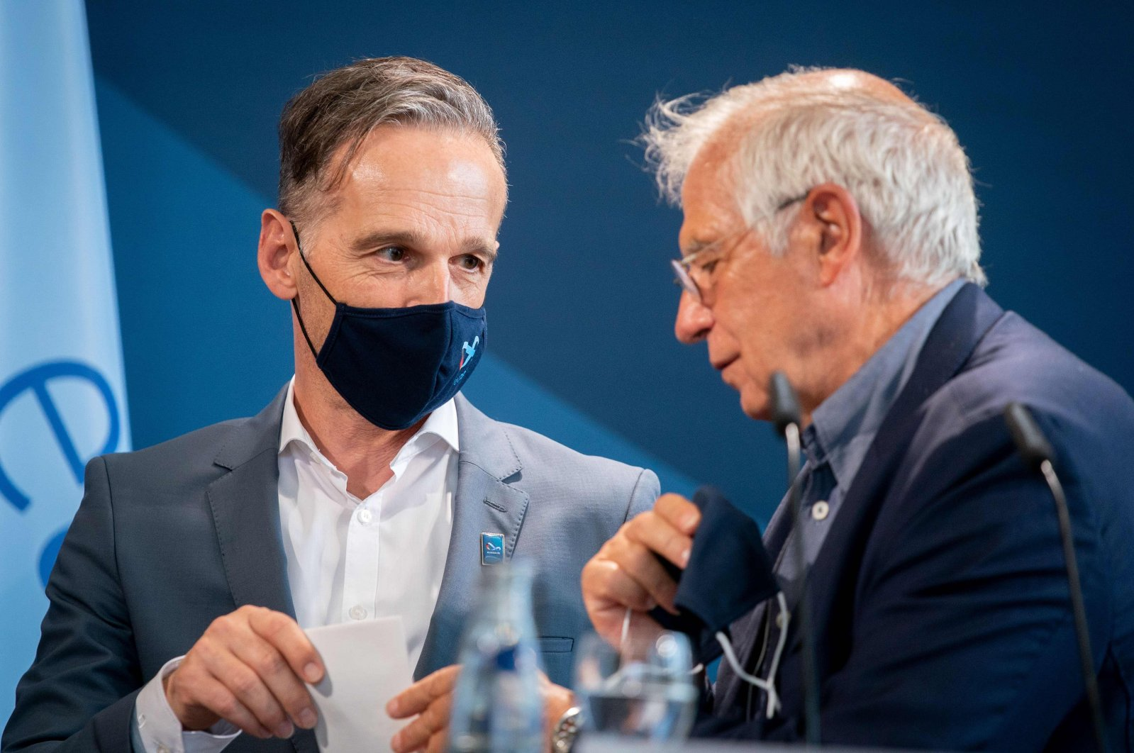 EU High Representative for Foreign Affairs and Security Policy, Josep Borrell and German Foreign Minister Heiko Maas talk before a press statement in Berlin, Aug. 28, 2020. (AFP)
