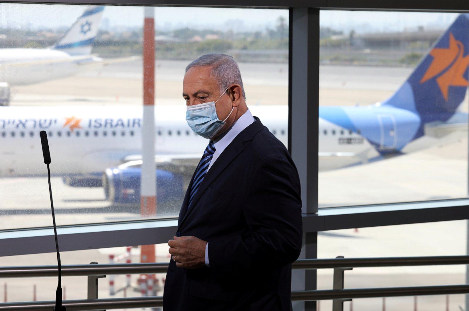 Israeli Prime Minister Benjamin Netanyahu prepares to give a statement at Ben Gurion International Airport, in Lod, near Tel Aviv, Israel on Aug. 17, 2020. (Reuters Photo)