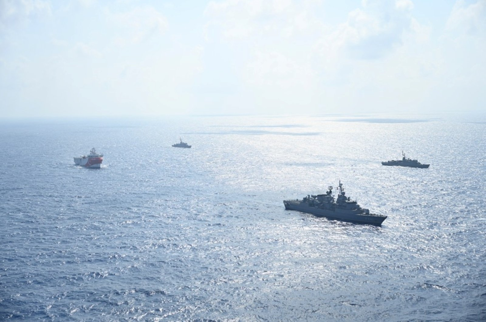 Turkish seismic research vessel Oruç Reis is escorted by Turkish Navy ships as it sets sail in the Mediterranean Sea, off Antalya, Turkey, Aug. 10, 2020. (Reuters Photo)