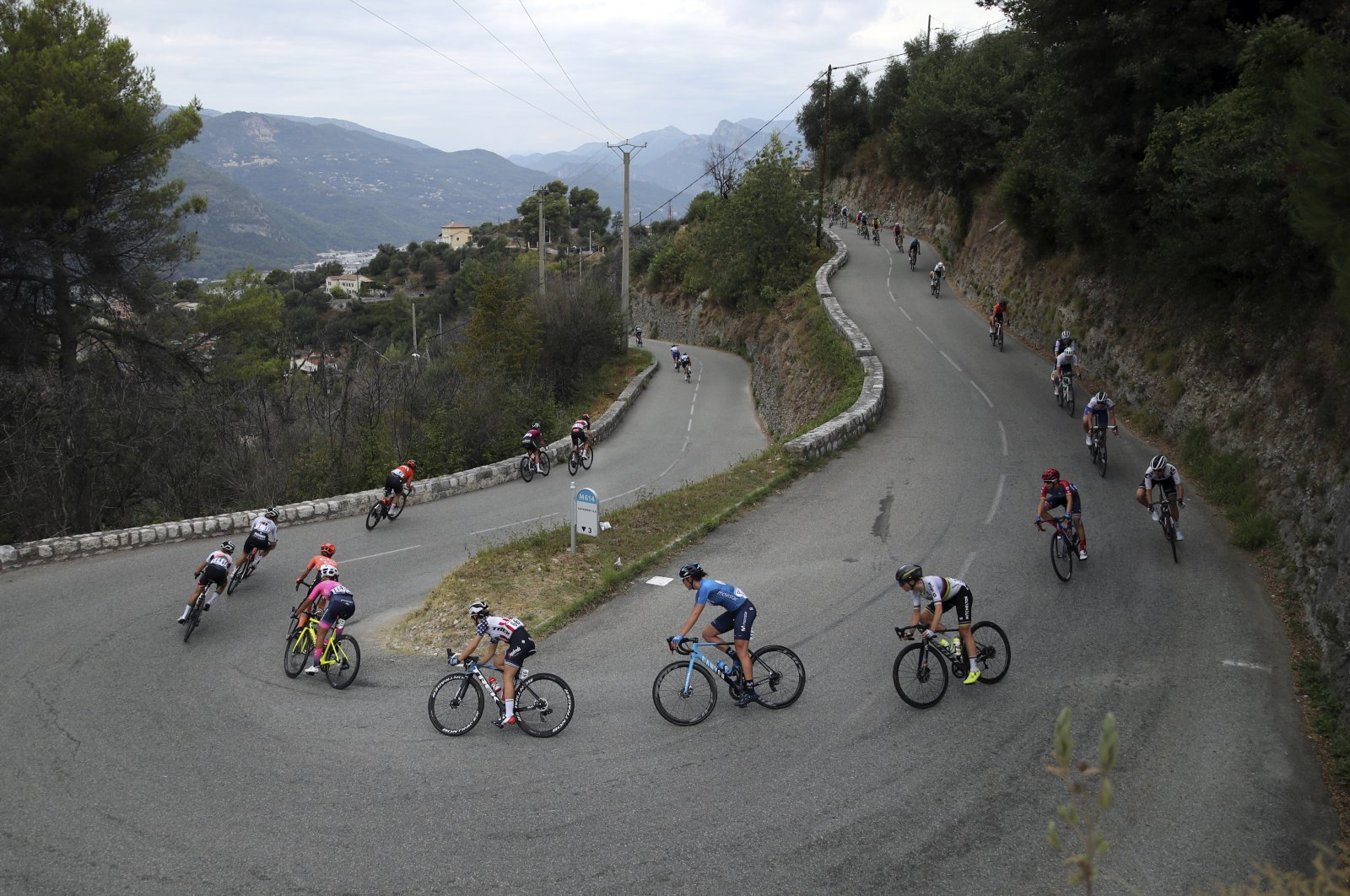 The pack rides during La Course by Le Tour de France, a women's cycling race, with start and finish in Nice, southern France, Saturday, Aug. 29, 2020. (AP Photo)
