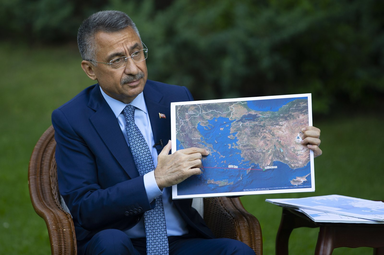 Turkish Vice President Fuat Oktay gives an interview to Anadolu Agency in Ankara Turkey on August 29 2020. (AA Photo)