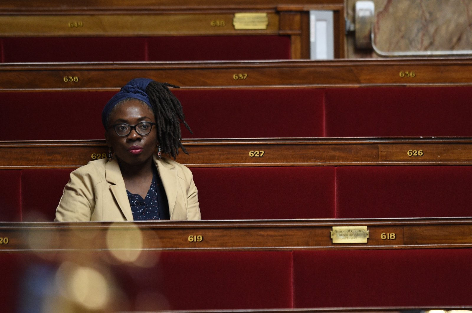 French leftist party La France Insoumise (LFI) MP Daniele Obono during a session of questions to the government at the National Assembly in Paris, France on May 12, 2020. (Reuters Photo)