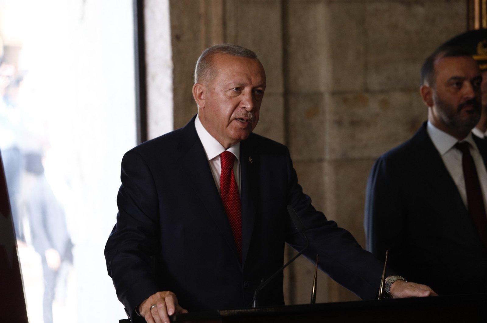 President Recep Tayyip Erdoğan, speaking at Anıtkabir, Sept. 11, 2019. (DHA Photo)