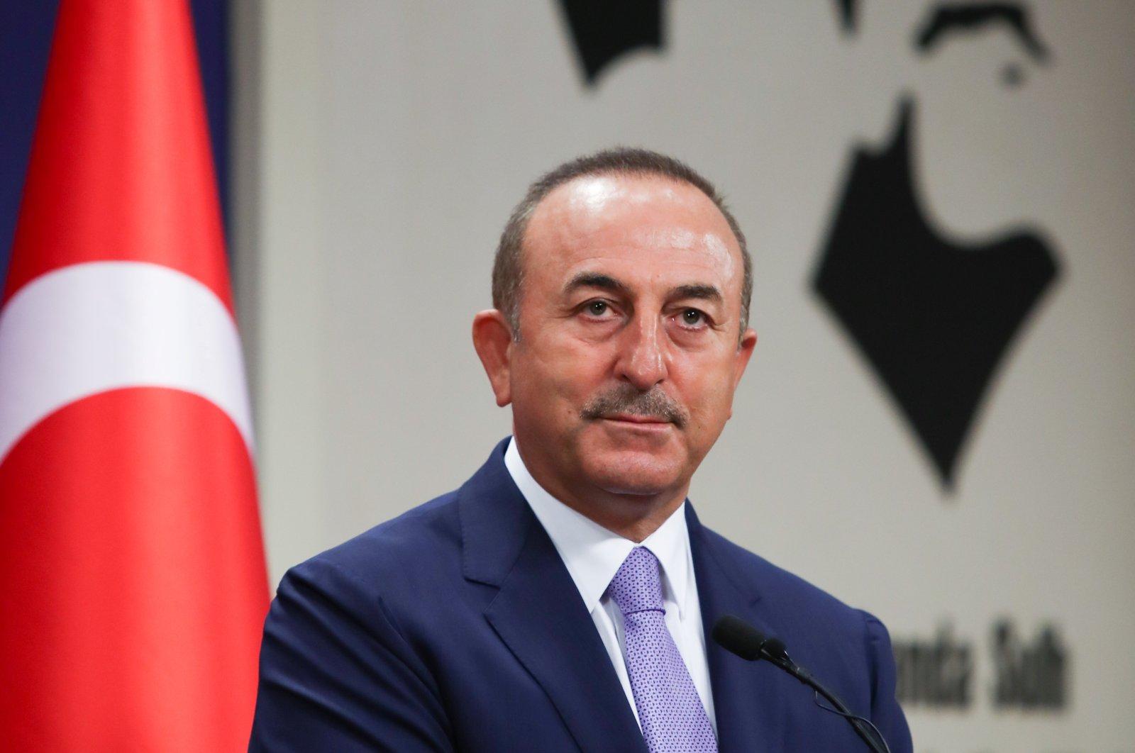 Turkish Foreign Minister Mevlüt Çavuşoğlu attends a news conference in Ankara, Turkey Aug. 11, 2020. (Reuters Photo)