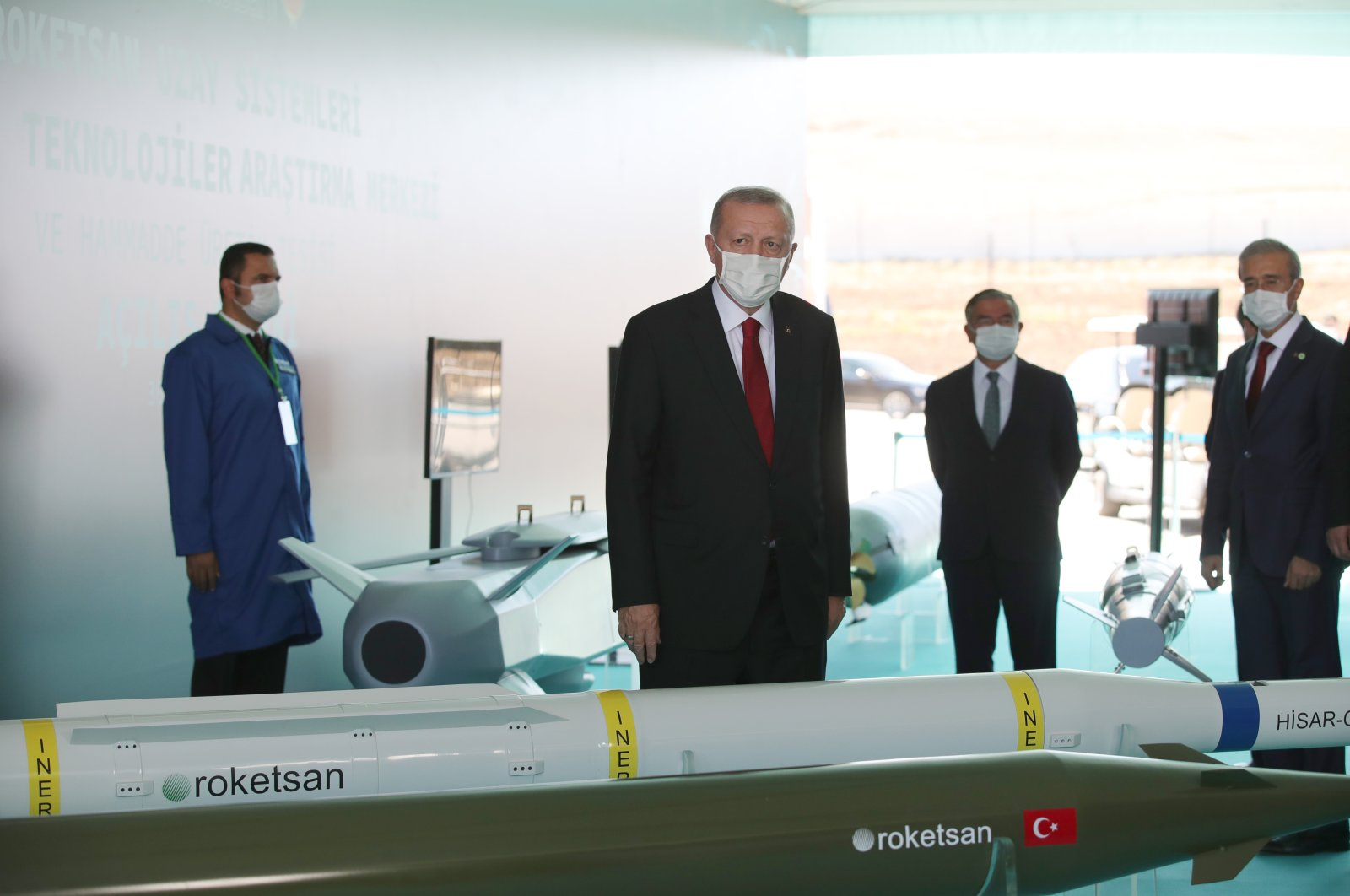 President Recep Tayyip Erdoğan visits Roketsan's Rocket Launch, Space Systems and Advanced Technologies Research Center in Ankara, Aug. 30, 2020. (AA Photo)