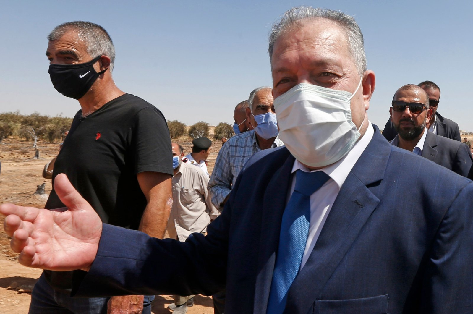 Syrian prime minister-designate, Hussein Arnous, visits on Aug. 24, 2020, the site of an attack on a gas pipeline near Damascus, between the areas of Adra and al-Dhamir. (AFP Photo)