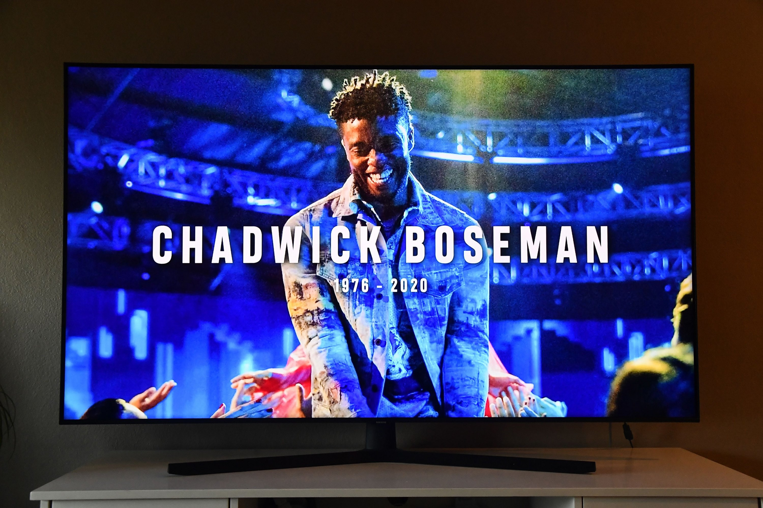 In this photo illustration, an In Memoriam for Chadwick Boseman, viewed on a laptop, is seen during the 2020 MTV Video Music Awards broadcast on Aug. 30, 2020 in New York City. (AFP PHOTO)