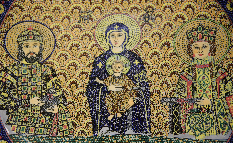 A close-up of a tile work depicting a Hagia Sophia mosaic at Sıtkı Olçar Art Gallery, Nevşehir, central Turkey, Aug. 29, 2020. (AA Photo)