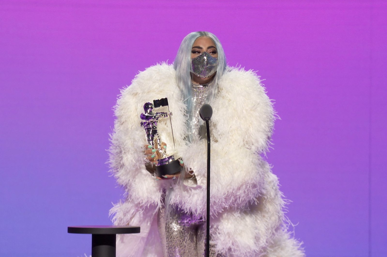Lady Gaga accepts the Artist of the Year award during the 2020 MTV VMAs in this screengrab image made available on Aug. 30, 2020. (REUTERS PHOTO)