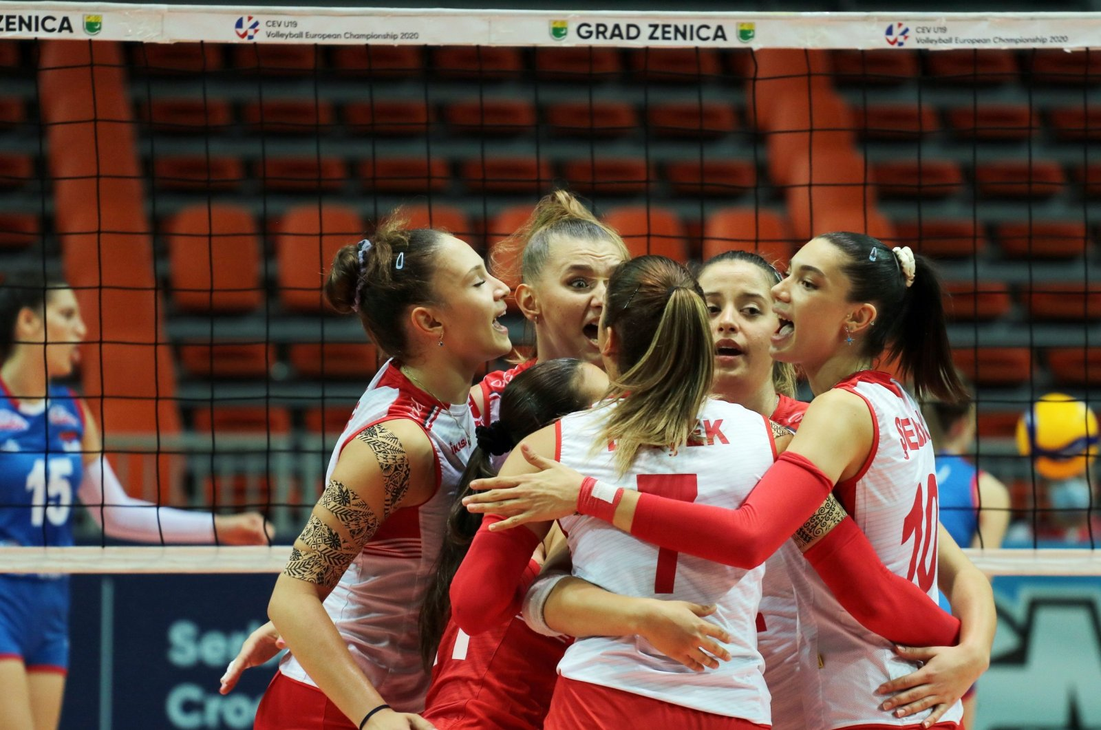 Turkey's U19 women's volleyball team celebrates after defeating Serbia in the CEV final match, in Zenica, Bosnia-Herzegovina, Aug. 30, 2020. (DHA Photo)