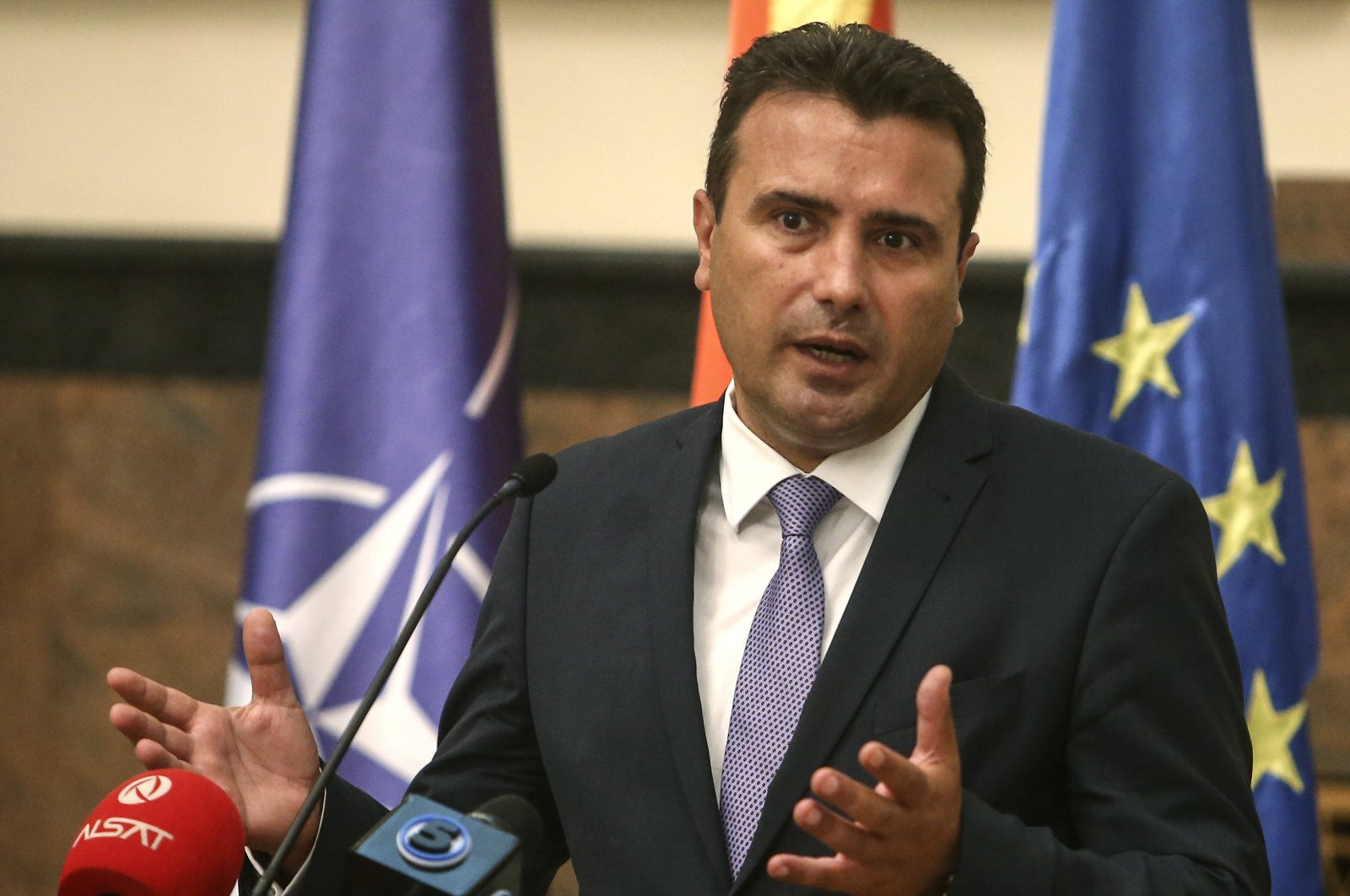 Prime Minister Zoran Zaev talks to the media after the country's parliament elected the new government, in the parliament building in Skopje, North Macedonia, Aug. 30, 2020. (AP Photo)