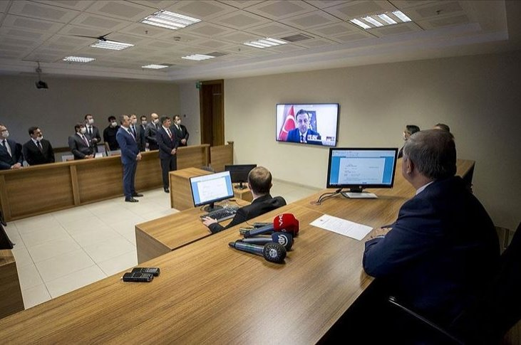 A view of an e-hearing during the testing of the system in the capital Ankara, Turkey, Jun. 17, 2020. (AA Photo)