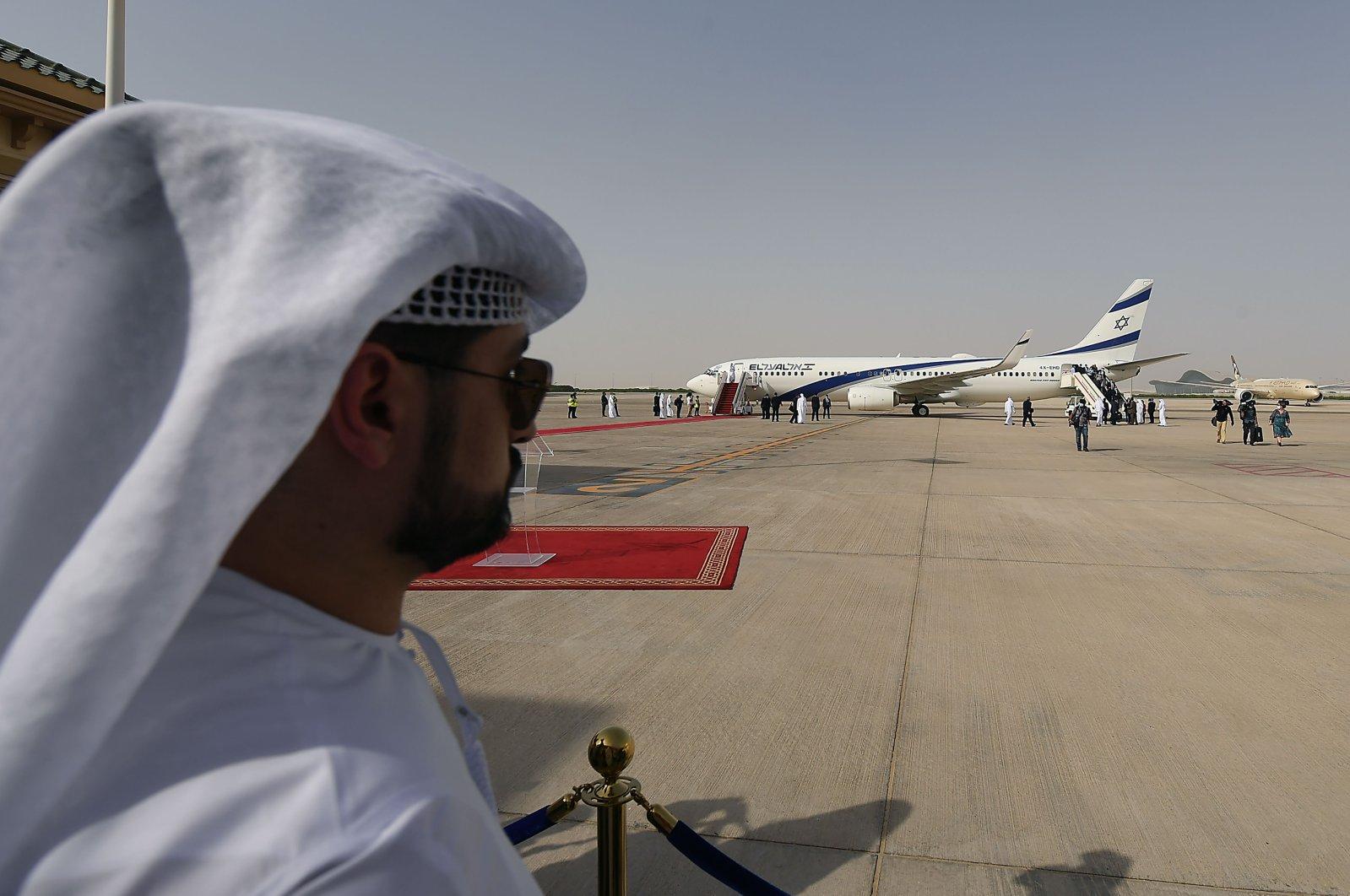 El Al's airliner, carrying a U.S.-Israeli delegation, lands on the tarmac at the Abu Dhabi International Airport, Abu Dhabi, United Arab Emirates, Aug. 31, 2020. (AFP Photo)