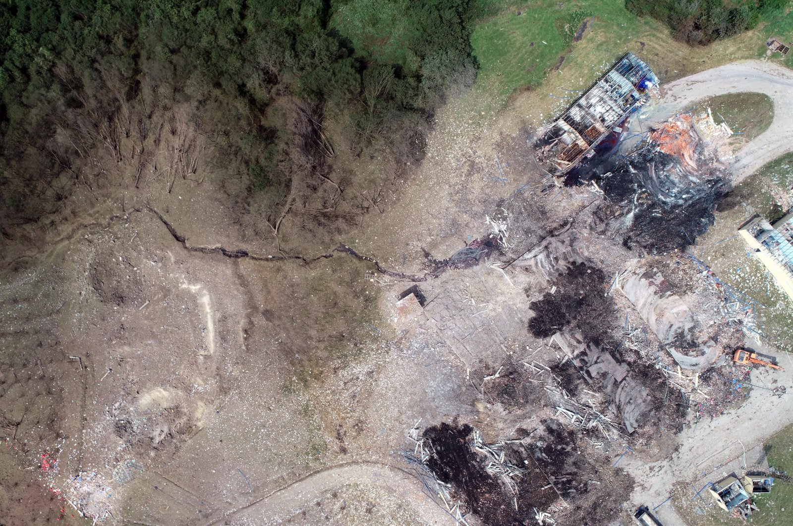 This photo taken with a drone shows the destruction in the area where the fireworks factory blew up on July 3, 2020, in Sakarya's Hendek district (DHA Photo)