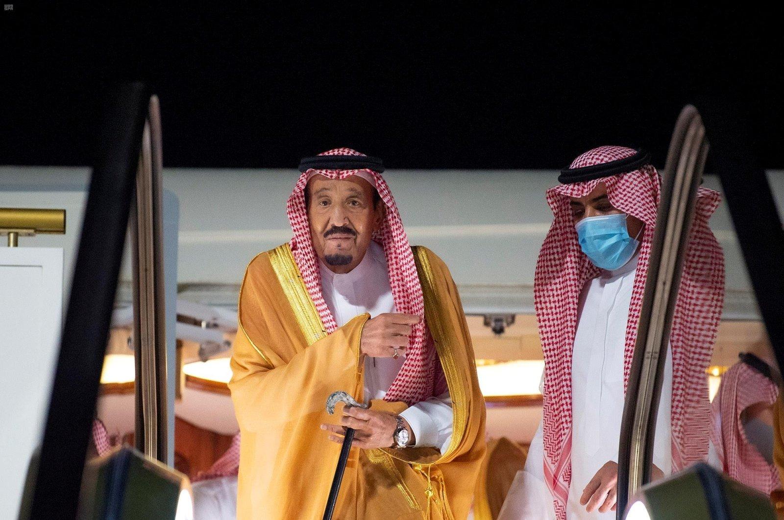 Saudi King Salman bin Abdulaziz arrives at NEOM economy zone's airport in Neom, Saudi Arabia, Aug. 12, 2020. (Saudi Press Agency via Reuters)