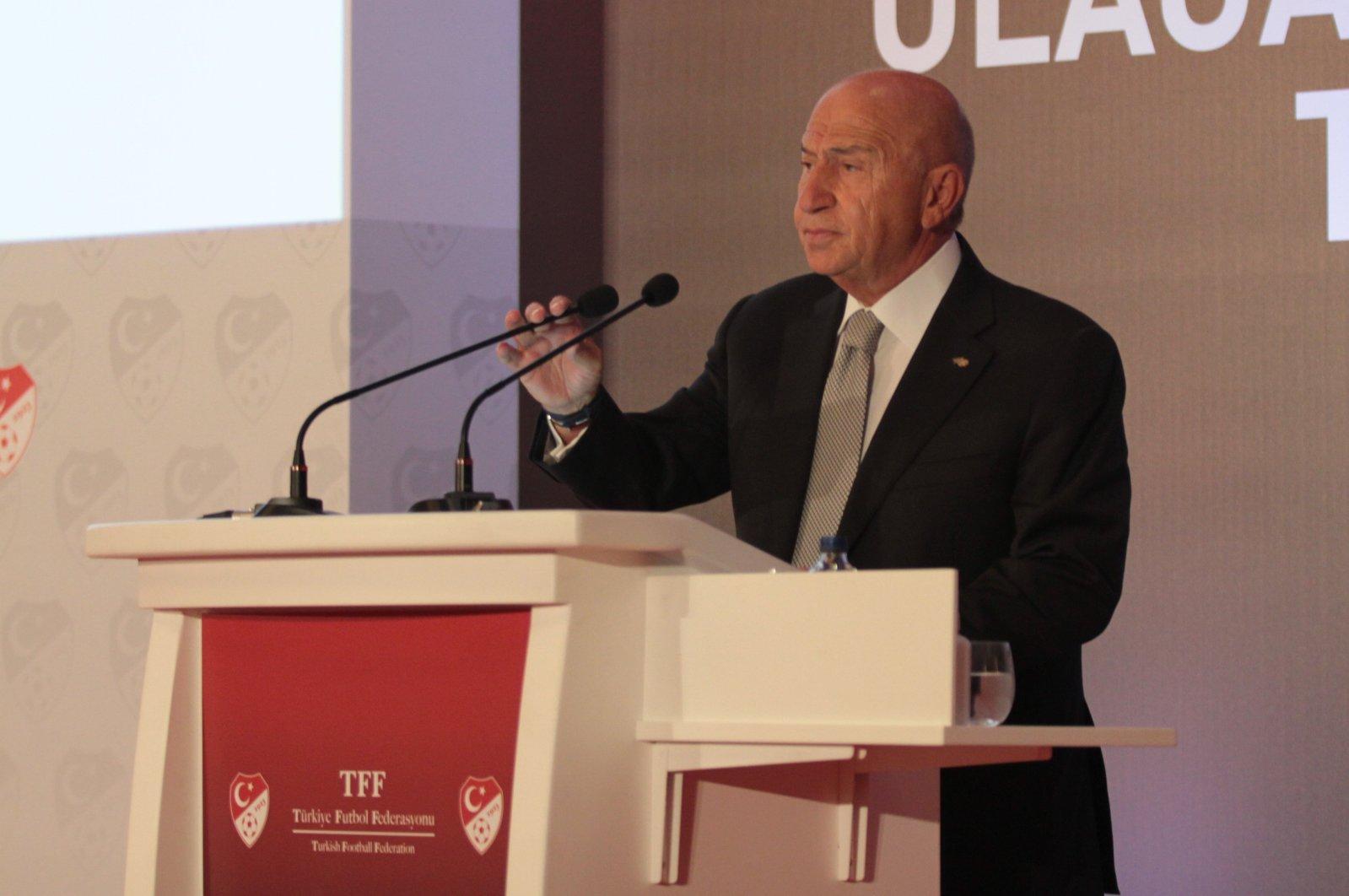 TFF President Nihat Özdemir speaks at a budget meeting in the capital Ankara, Turkey, Sept. 1, 2020. (IHA Photo)