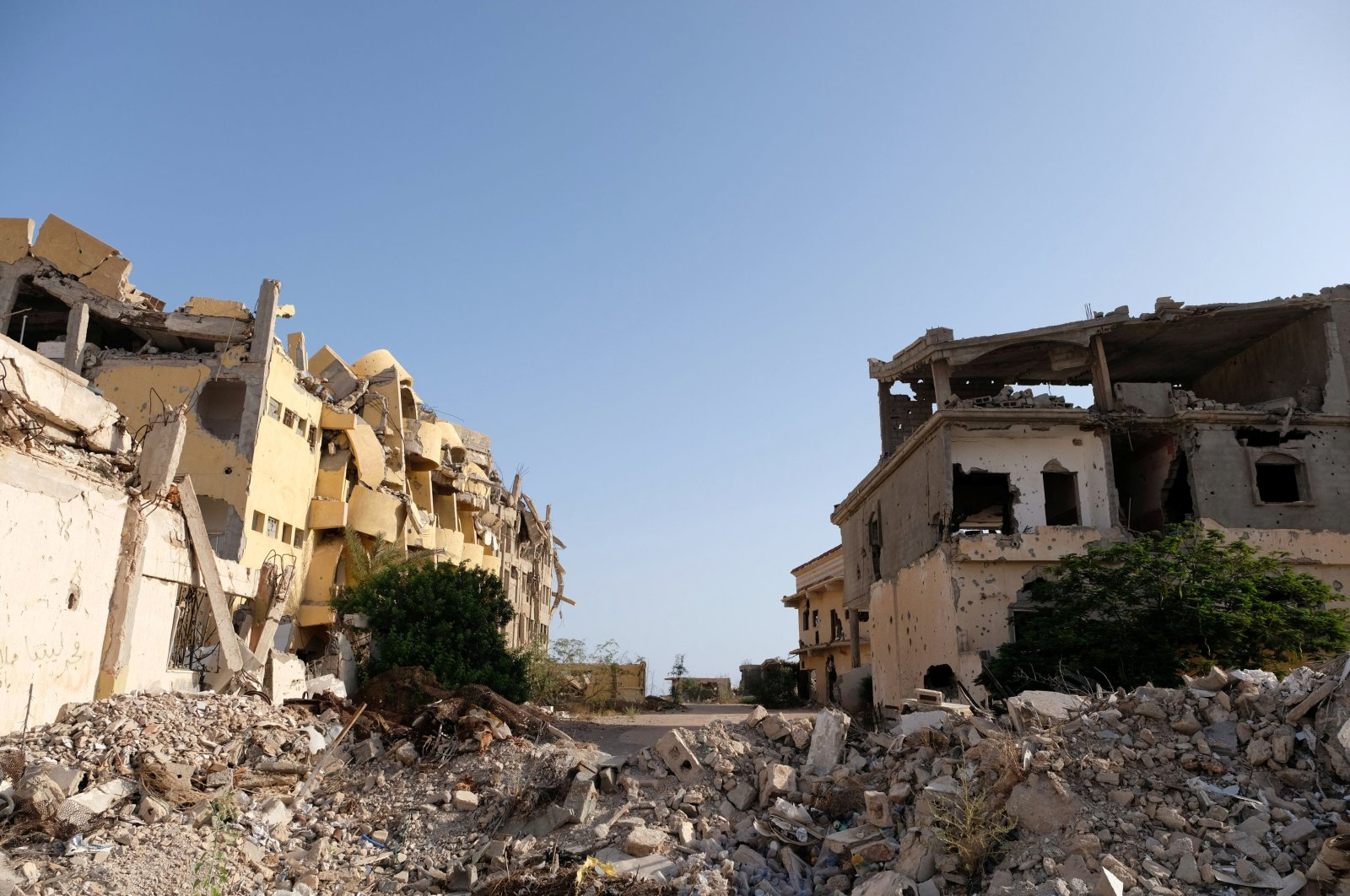 Buildings destroyed during fighting are seen in Sirte, Libya, Aug. 18, 2020. (Reuters Photo)