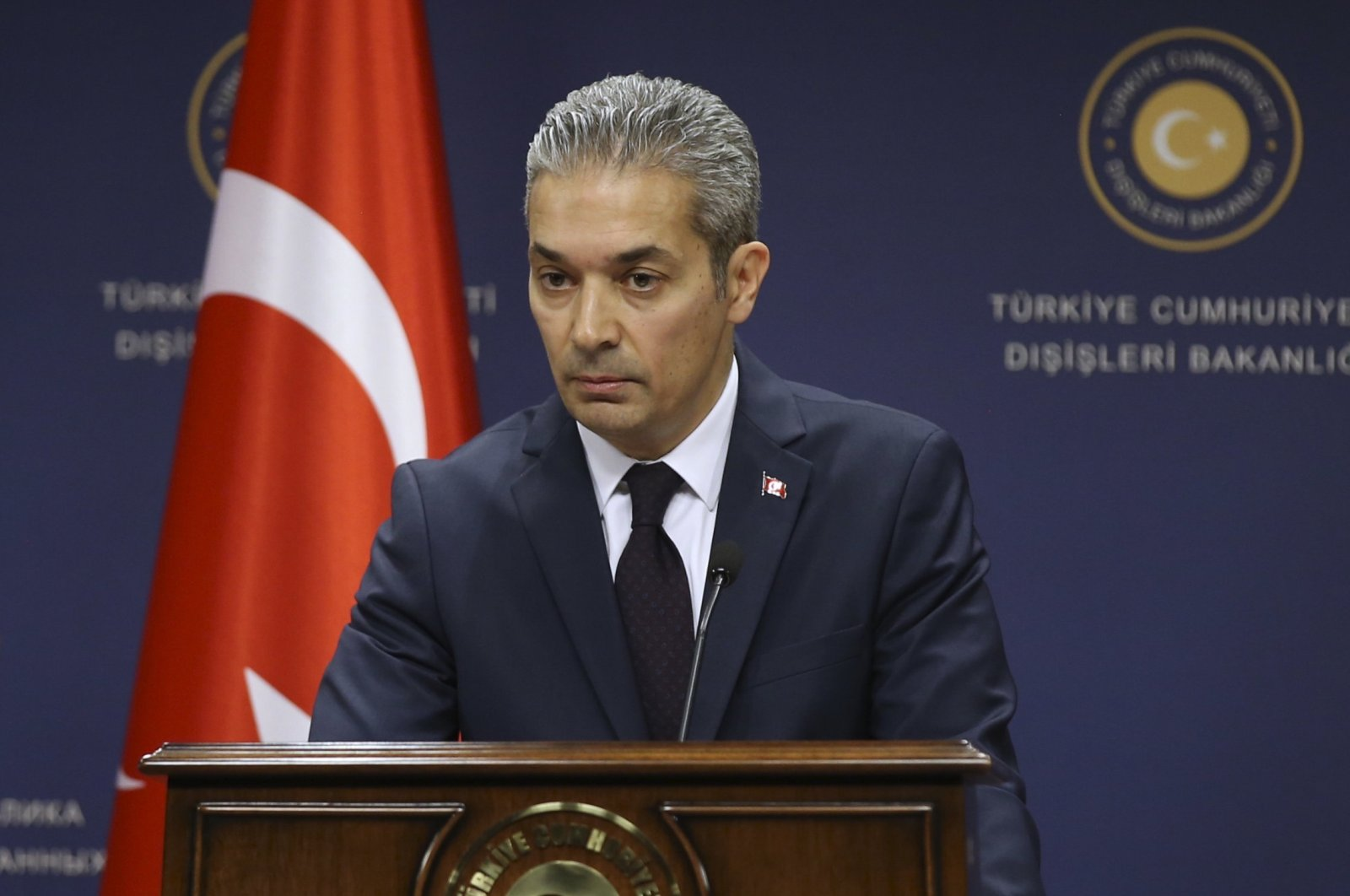 Foreign Ministry spokesman Hami Aksoy speaks during a briefing in Ankara, Turkey, May 3, 2019. (AA Photo)