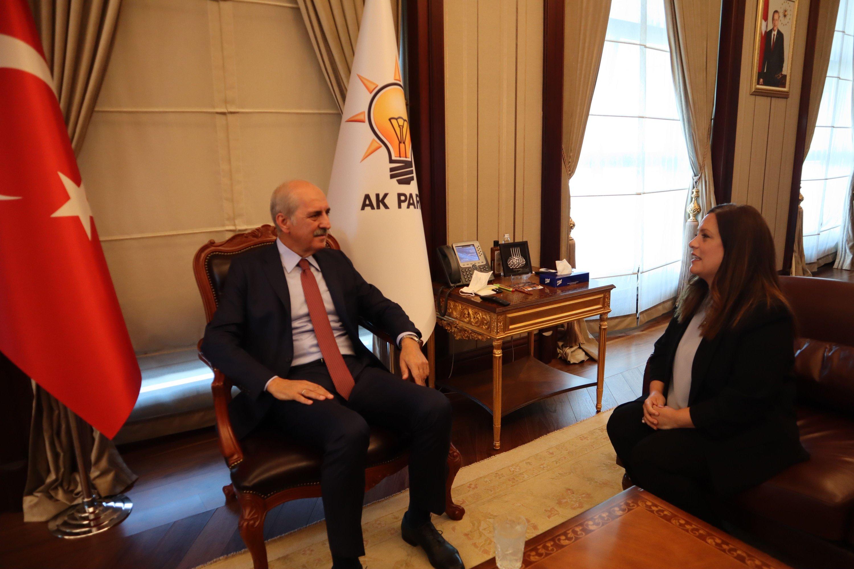 AK Party Deputy Chairman Numan Kurtulmuş and Daily Sabah Ankara Representative Nur Özkan Erbay speak during an interview in the party's headquarters in the capital Ankara, Turkey, Sept. 1, 2020. (Daily Sabah)