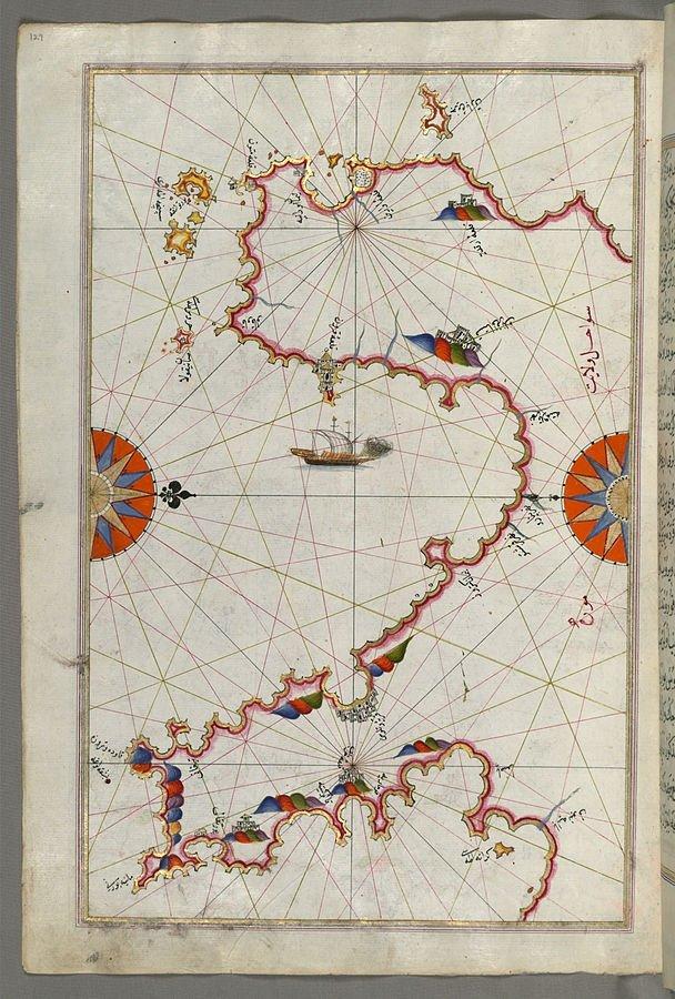 Map of Messiniakos Bay (Bay of Messini) by Piri Reis.