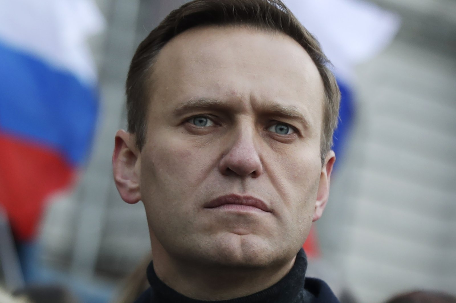 Russian opposition activist Alexei Navalny takes part in a march in memory of opposition leader Boris Nemtsov in Moscow, Russia, Feb. 29, 2020. (AP Photo)