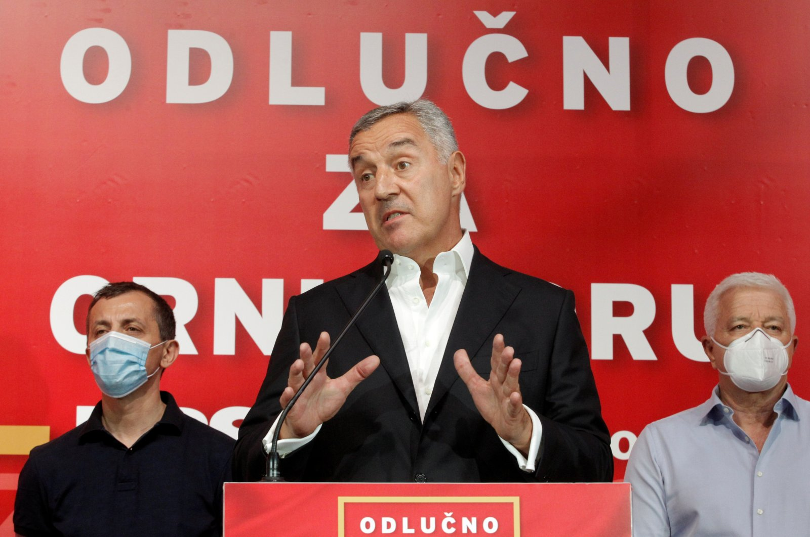 Montenegro's president and leader of the ruling Democratic Party of Socialists, Milo Djukanovic, speaks to the media after the general election in Podgorica, Montenegro, Aug. 30, 2020. (Reuters Photo)