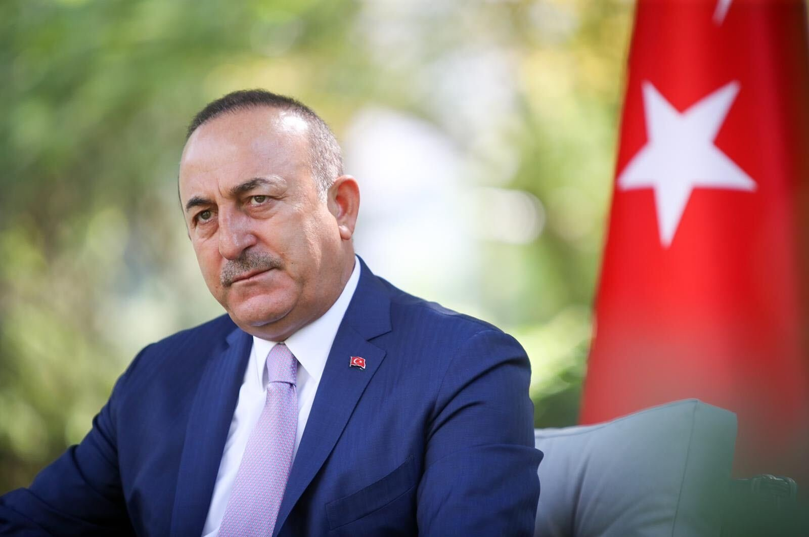 Foreign Minister Mevlüt Çavuşoğlu listens during an interview with Daily Sabah Ankara Representative Nur Özkan Erbay, Ankara, Turkey, Sept. 2, 2020. (Courtesy of the Foreign Ministry)