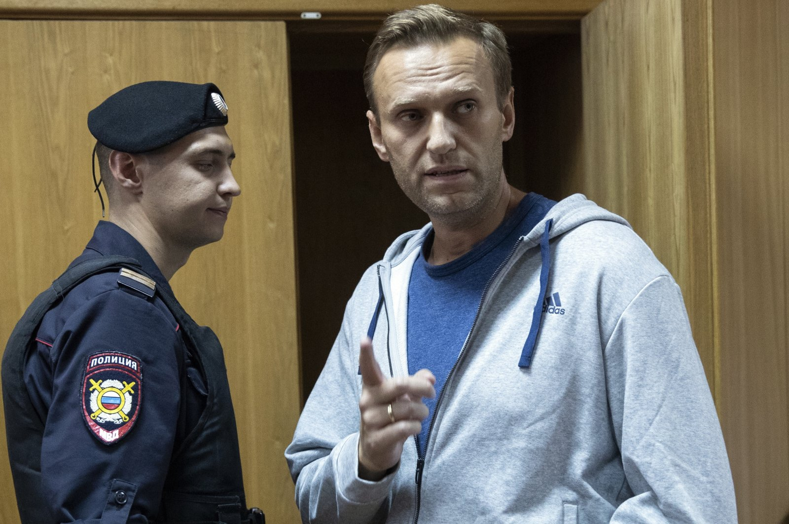 Russian opposition leader Alexei Navalny gestures while speaking in a courtroom in Moscow, Russia, Aug. 27, 2018. (AP Photo)