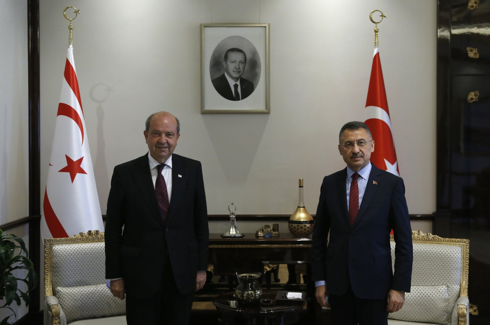 Vice President Fuat Oktay receives TRNC Prime Minister Ersin Tatar at the Presidential Complex in Ankara, Aug. 4, 2020. (AA Photo)