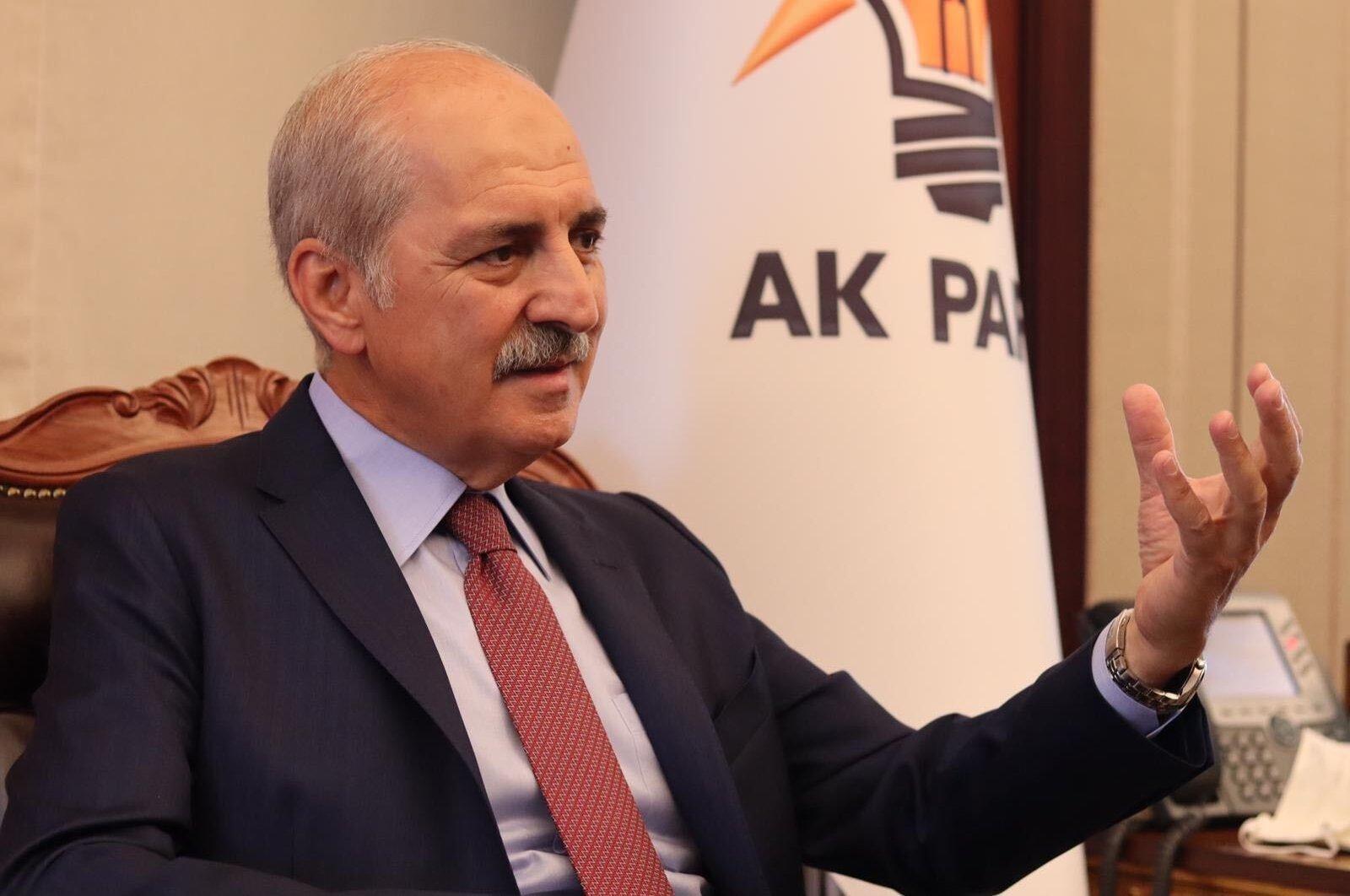 AK Party deputy chairman Numan Kurtulmuş speaks to Daily Sabah's Nur Özkan Erbay at the AK Party Headquarters in Ankara, September 2, 2020 (DS Photo)