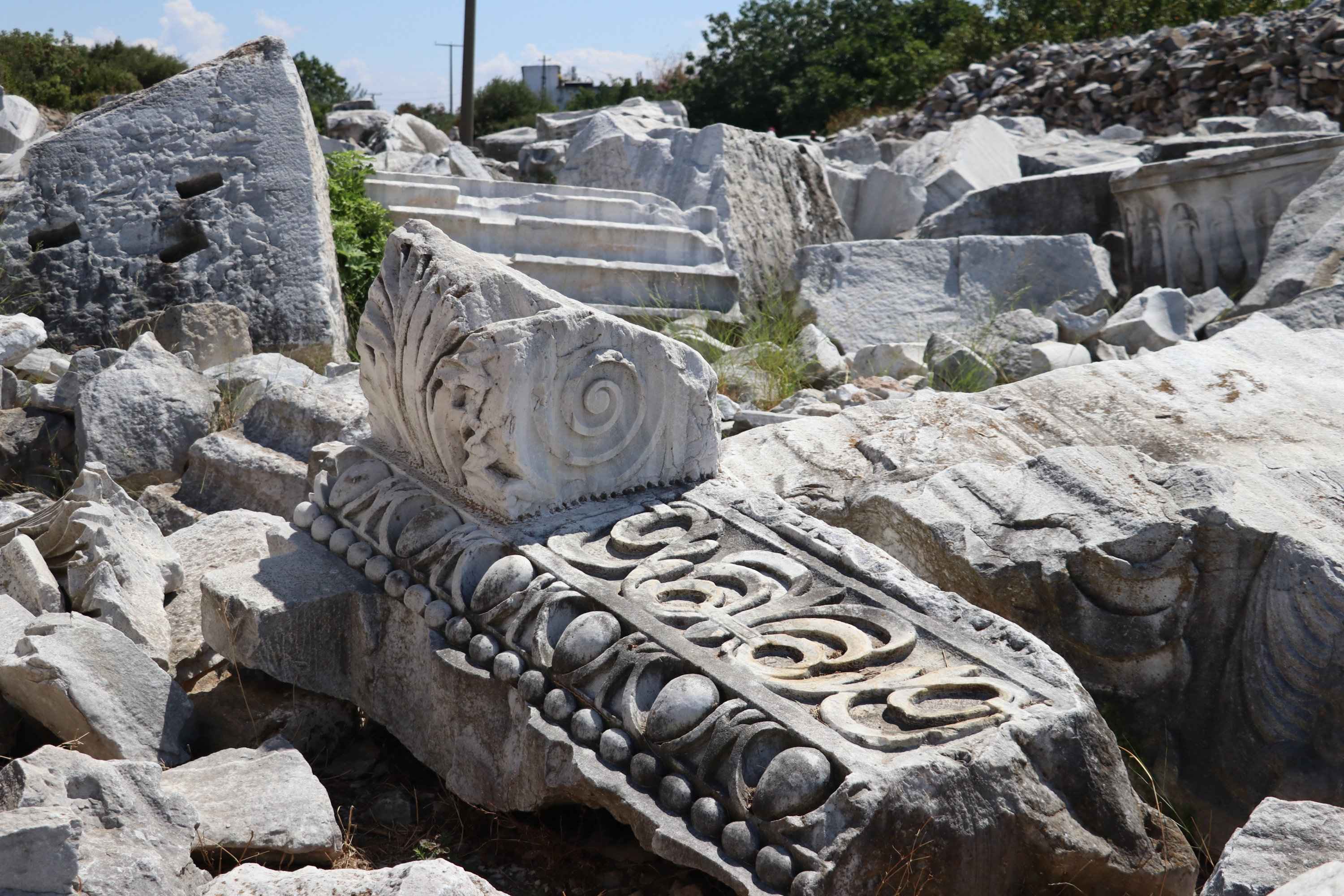 A stone part of the relief arch of the temple founded at the excavation site, Balıkesir province, western Turkey, Sept. 2, 2020. (AA PHOTO)